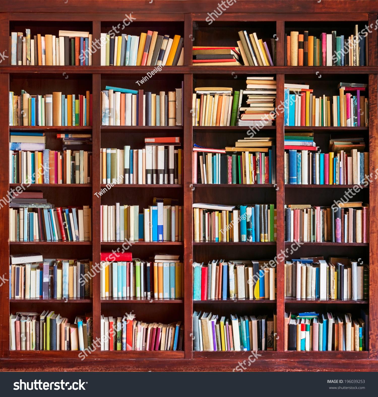 Bookshelf background stock photo 196039253 shutterstock - Book shelf pics ...