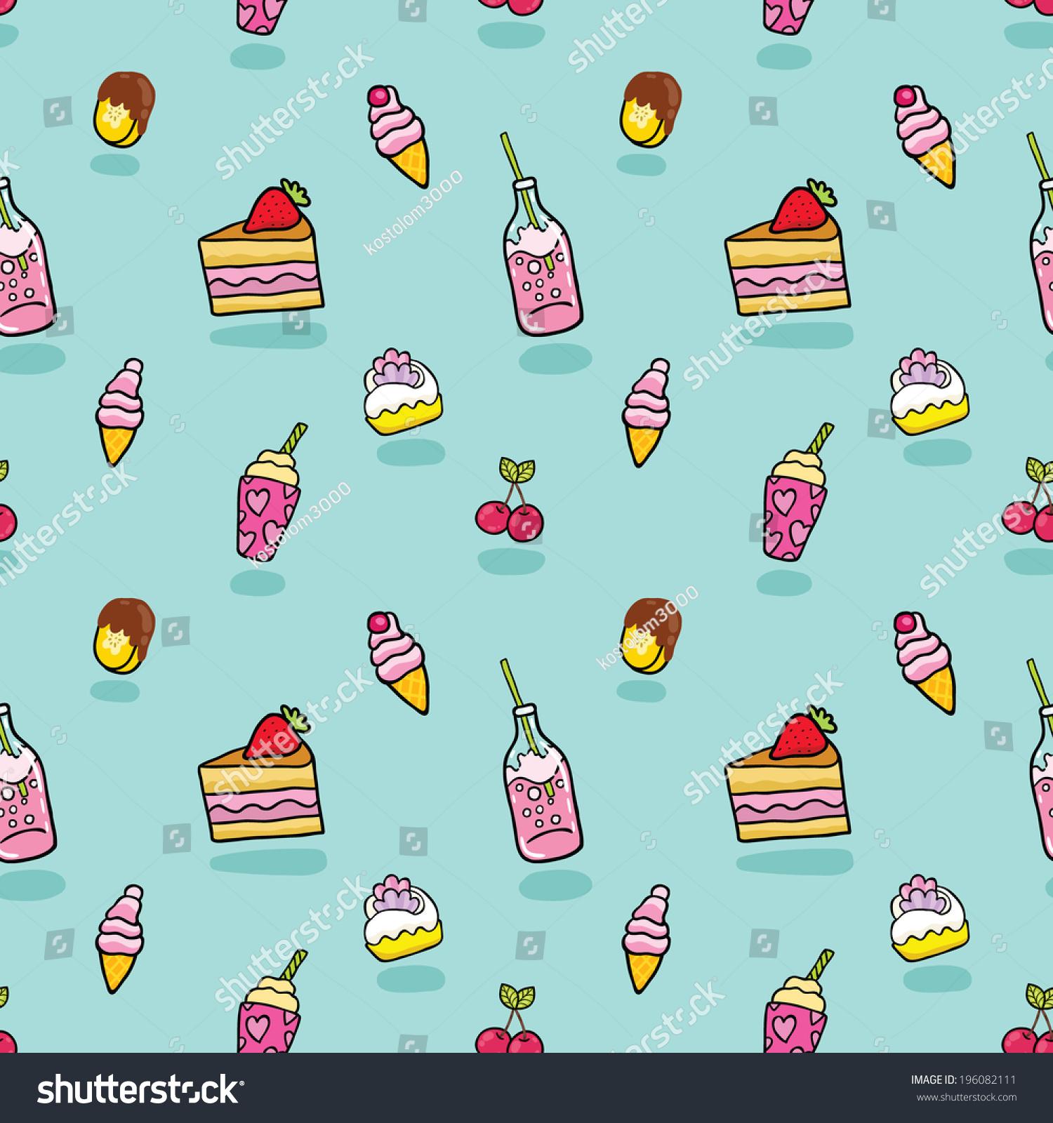 Download Cartoon Ice Cream Wallpaper Gallery: Cute Seamless Pattern With Ice Cream, Soda, Cake, Cherry