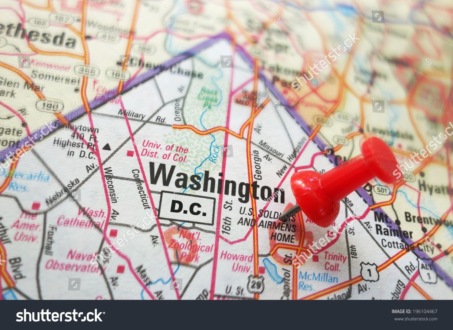 Closeup Map Washington Dc Red Pin Stock Photo  Shutterstock - Washington dc ferry map
