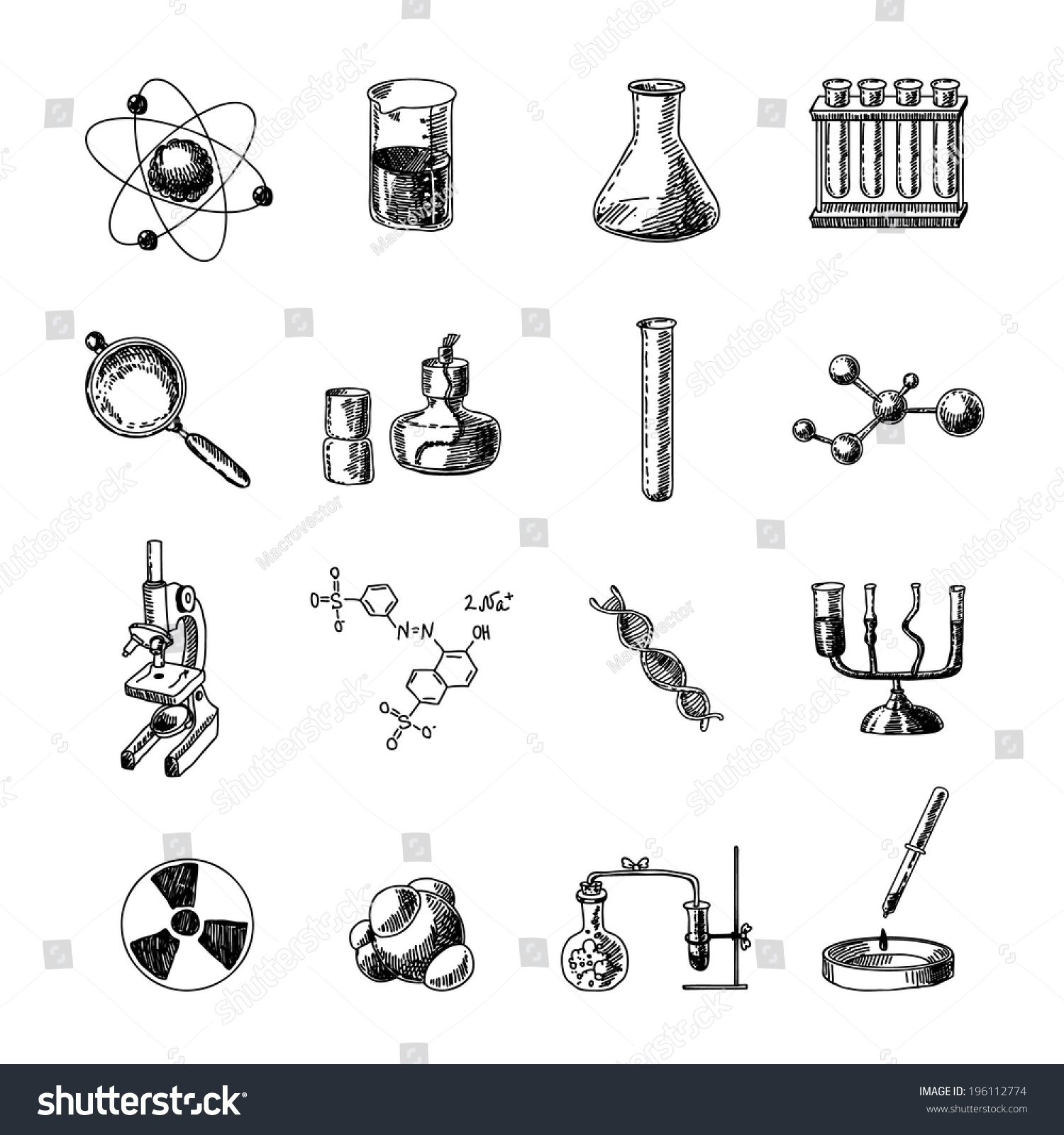 Scientific chemistry laboratory equipment retort glass stock scientific chemistry laboratory equipment of retort glass holder dna symbols doodle sketch icons set isolated vector buycottarizona Images