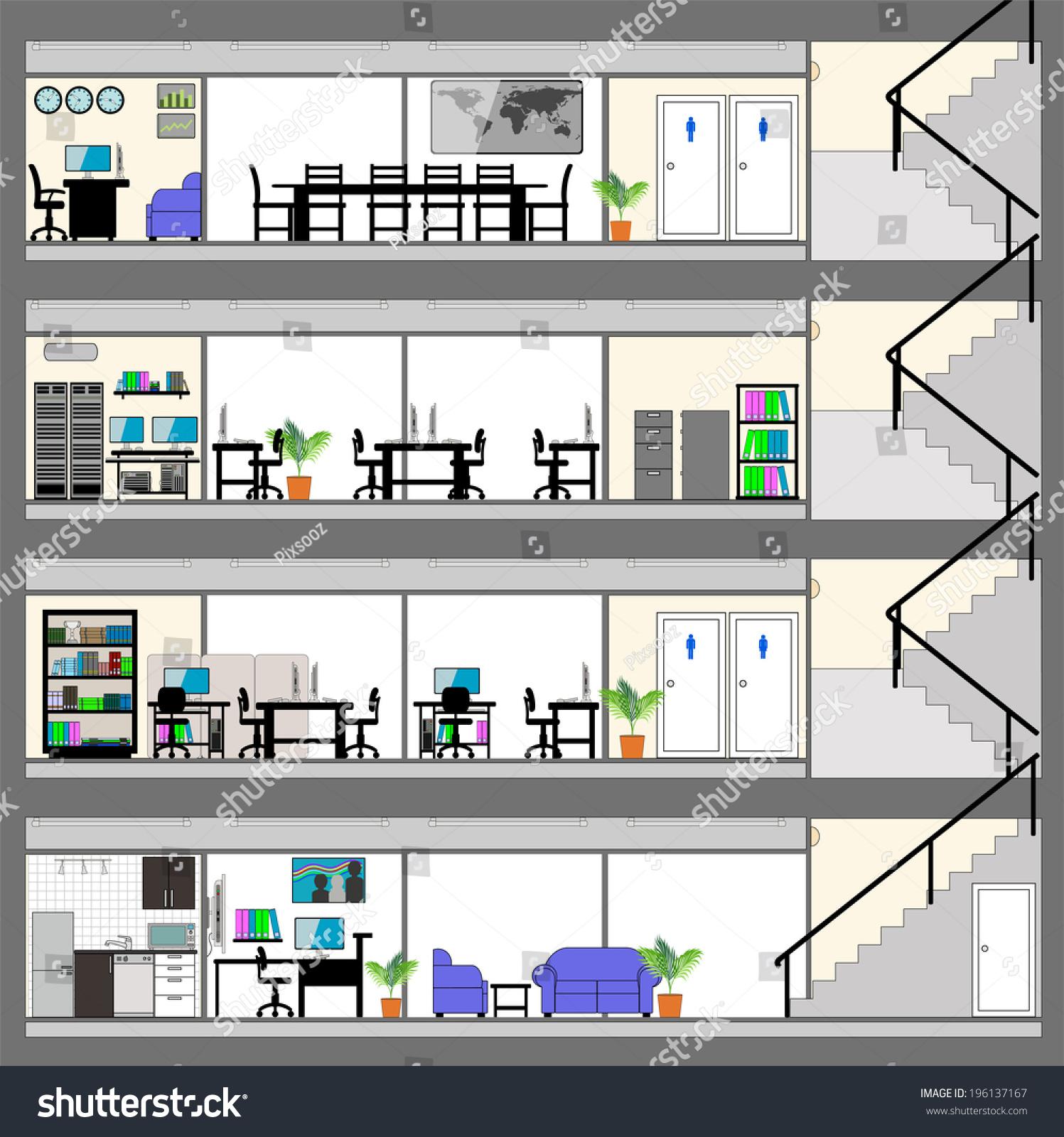 Cutaway office building interior design plan stock vector for Office interior plan