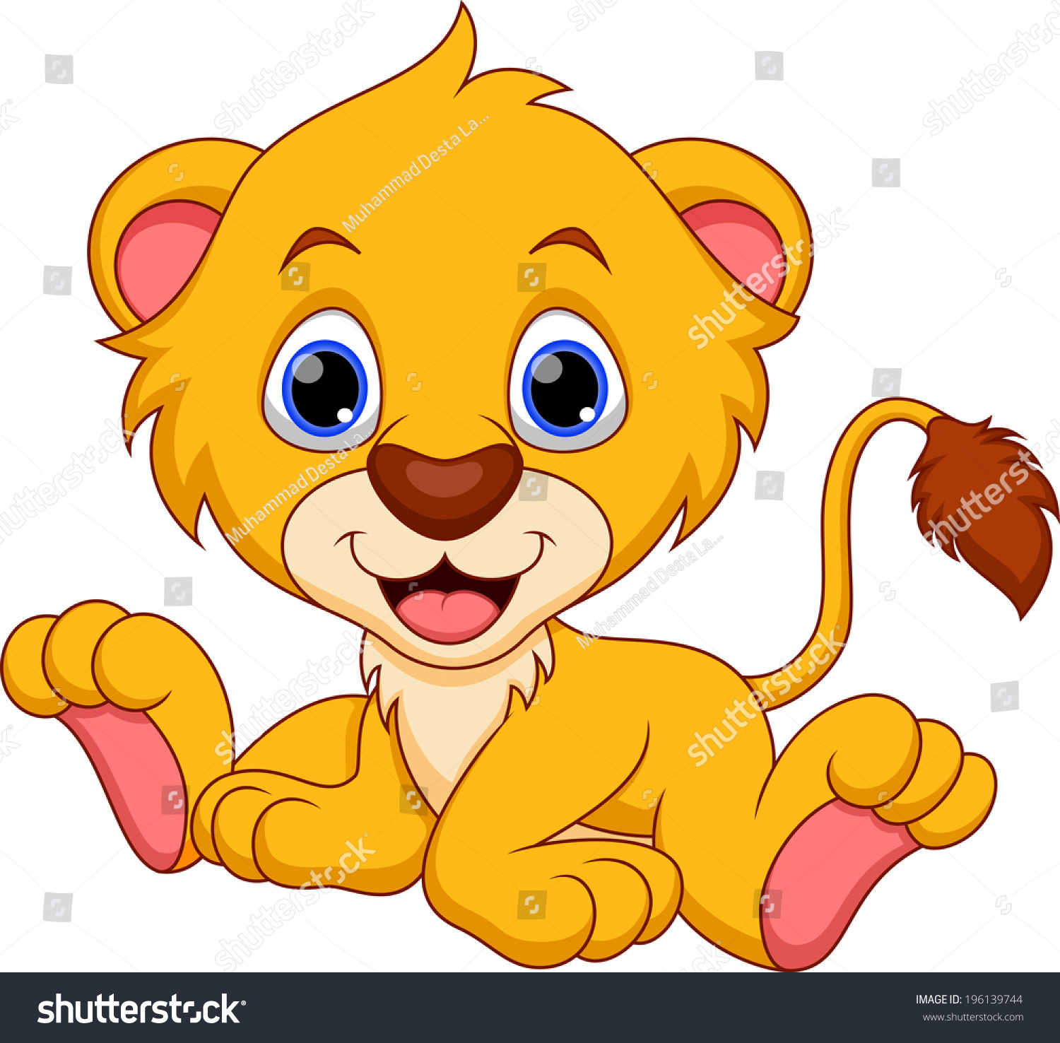Aninimal Book: Cute Baby Lion Cartoon Stock Vector 196139744 - Shutterstock