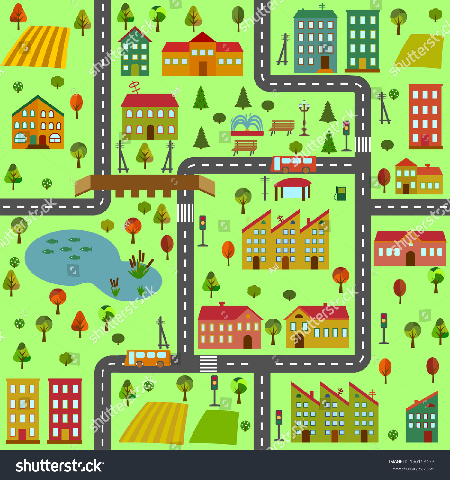 cartoon illustration map city different houses stock vector royalty free 196168433 https www shutterstock com image vector cartoon illustration map city different houses 196168433