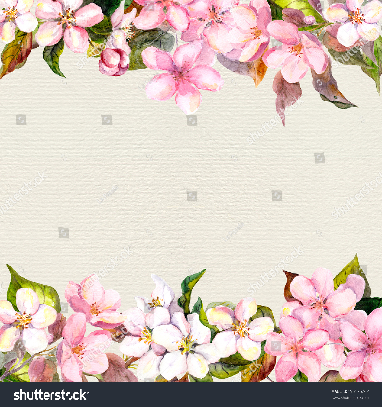 Pink Flowers Apple Cherry Blossom Floral Frame For Romantic