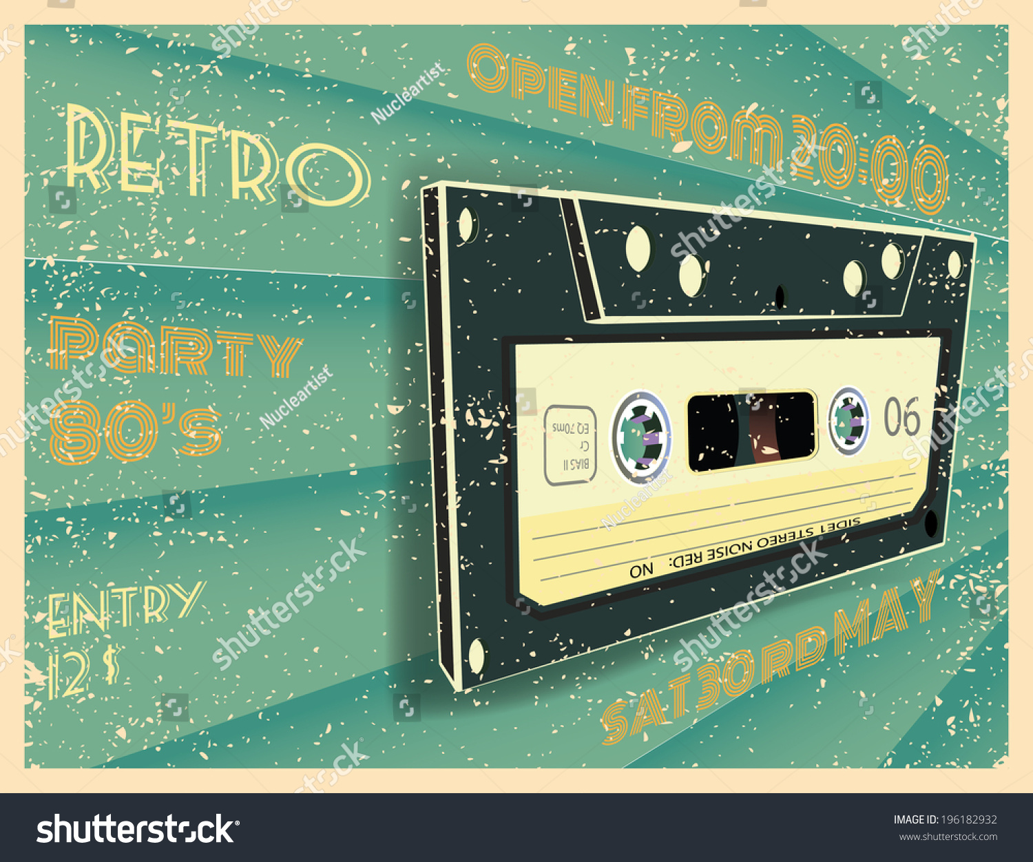 retro party poster design disco music stock vector 196182932 shutterstock. Black Bedroom Furniture Sets. Home Design Ideas