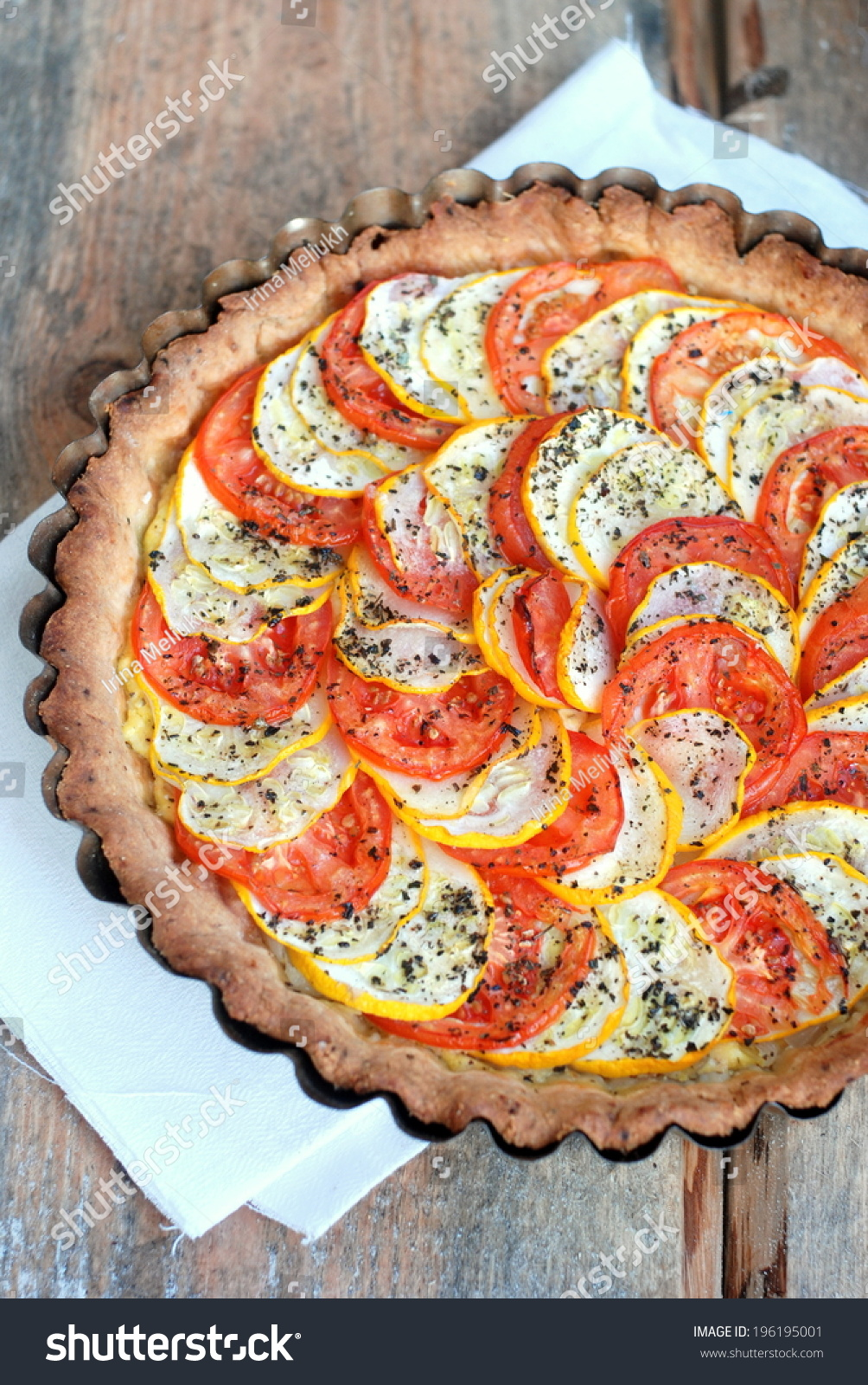 Tomato And Zucchini Tart With Goat Cheese, Selective Focus Stock Photo ...
