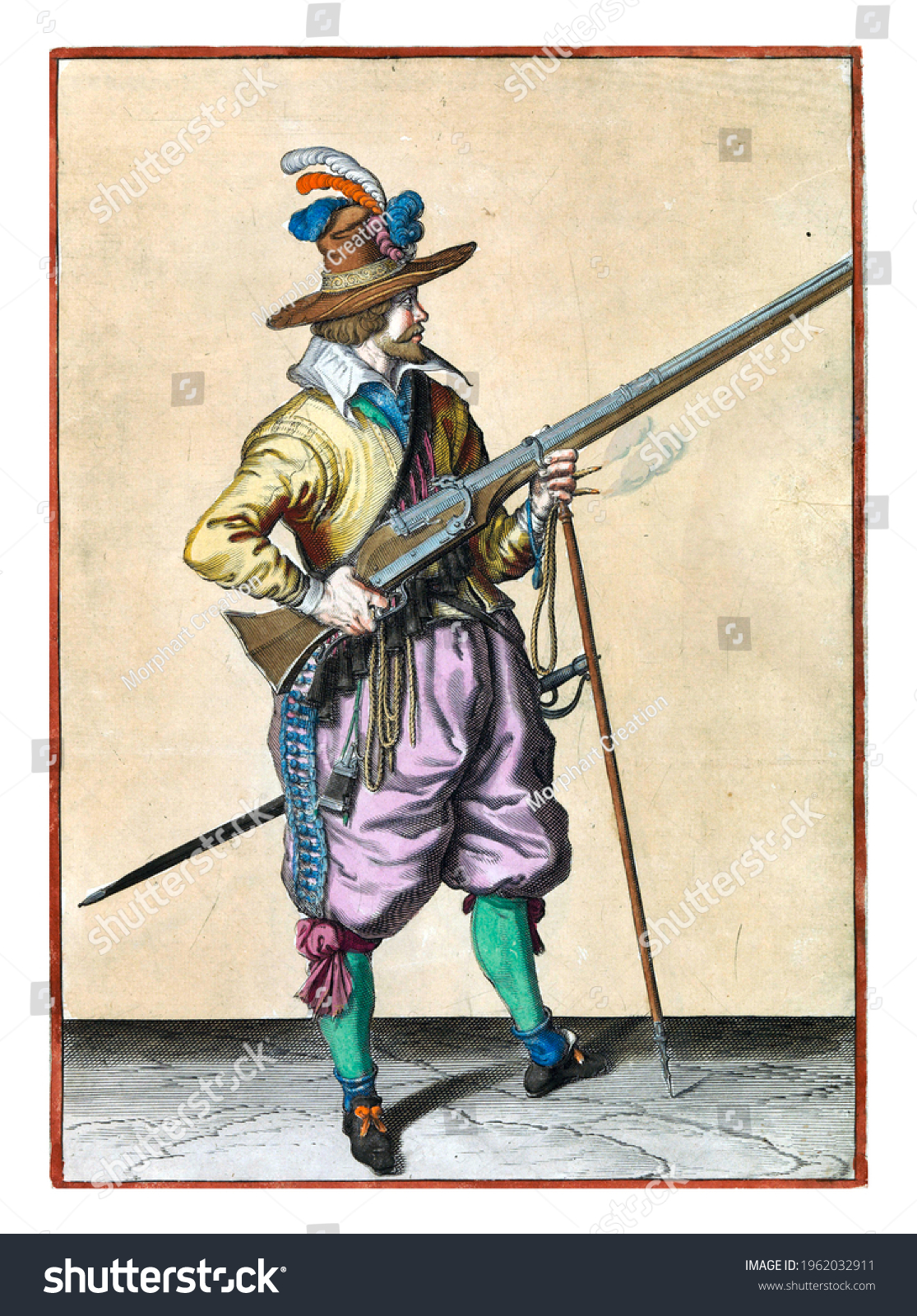 A soldier on guard, full-length, to the right, holding a musket (a certain type of firearm) by his right side, his right index finger on the trigger, his left hand around the fork of the furket #1962032911