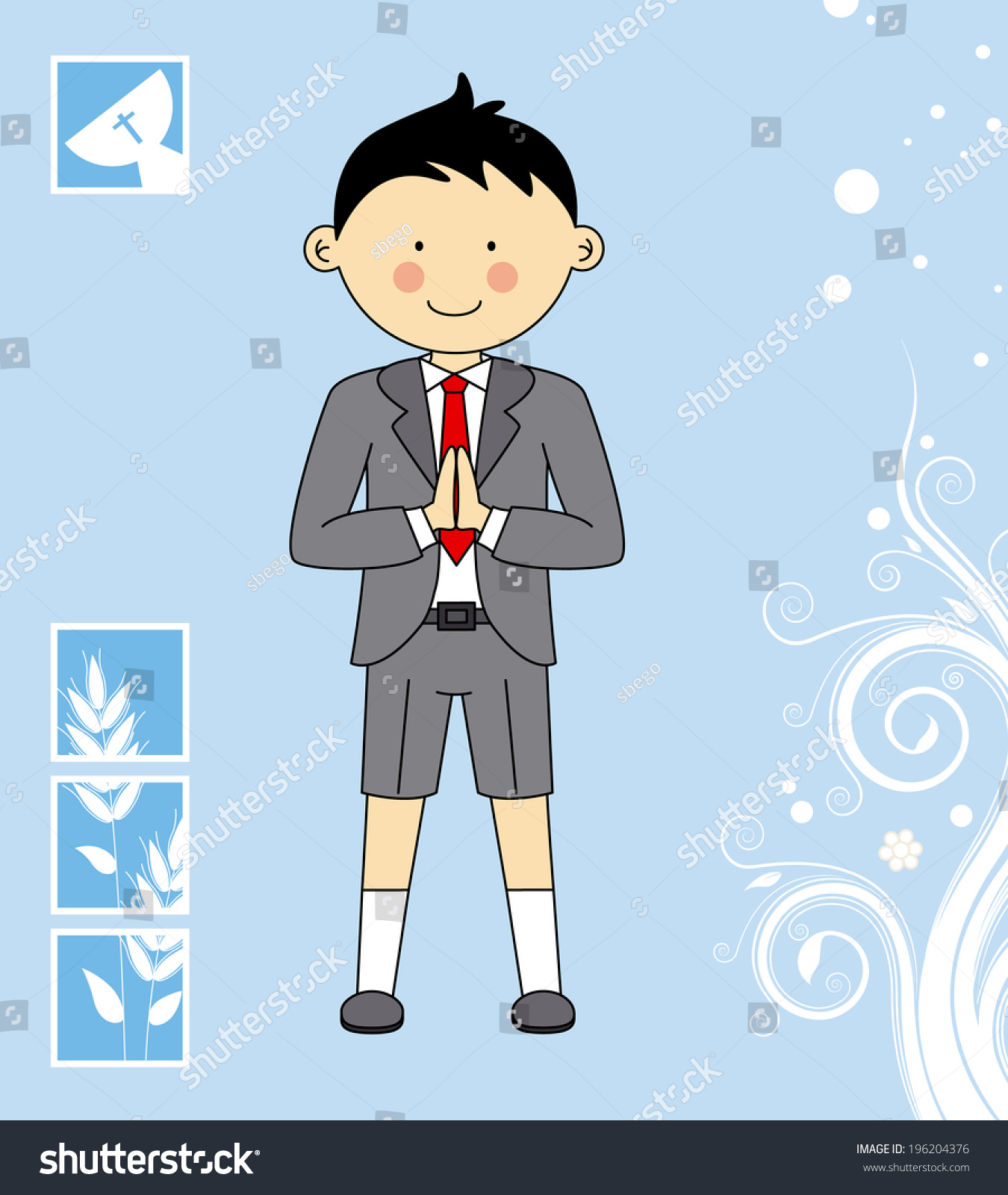 Boy First Communion Invitation Card Vector 196204376 – First Communion Invitation Cards