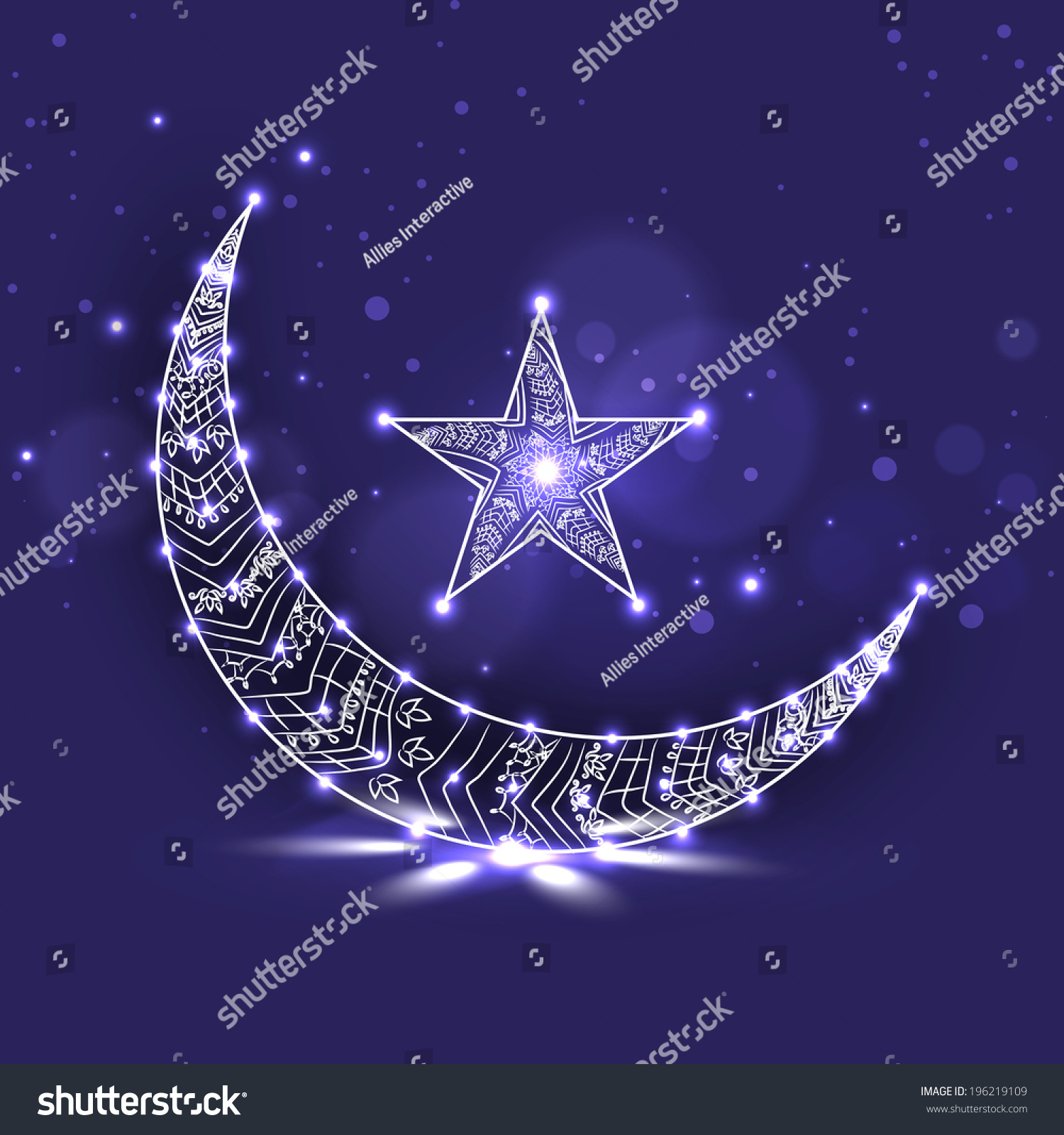 Shiny crescent moon star on purple stock vector 196219109 shutterstock shiny crescent moon and star on purple background for holy month of ramadan kareem biocorpaavc Gallery
