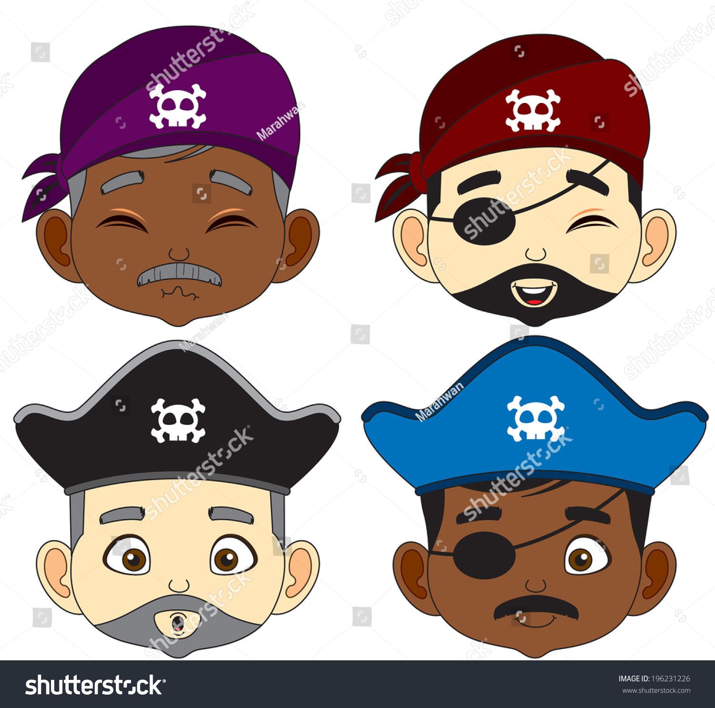 Uncategorized Pirate Faces cartoon pirate faces vector illustration stock 196231226 illustration