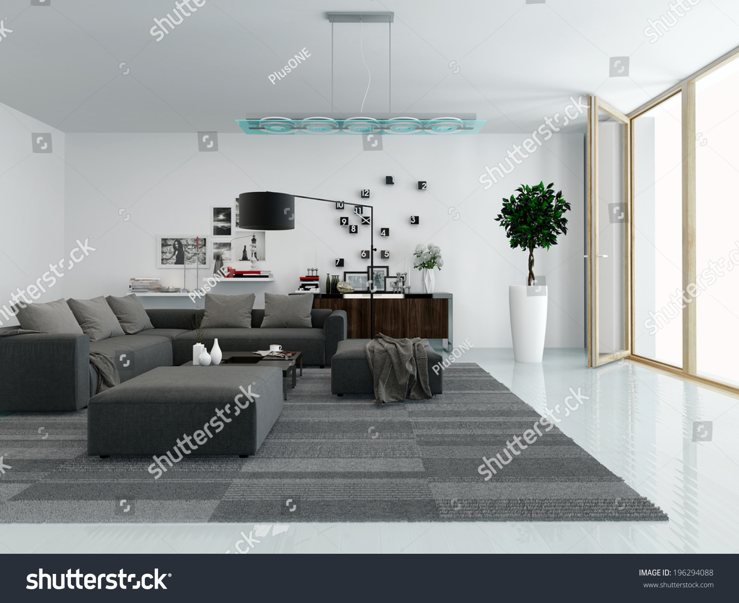 Modern Living Room Interior With A Comfortable Upholstered Lounge