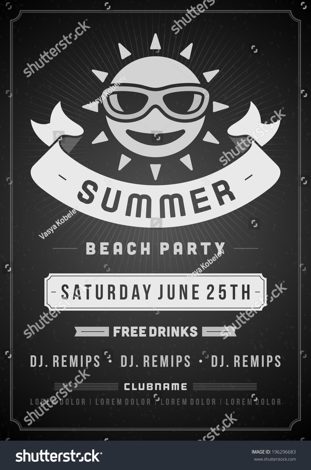 retro summer party design poster flyer stock vector royalty free