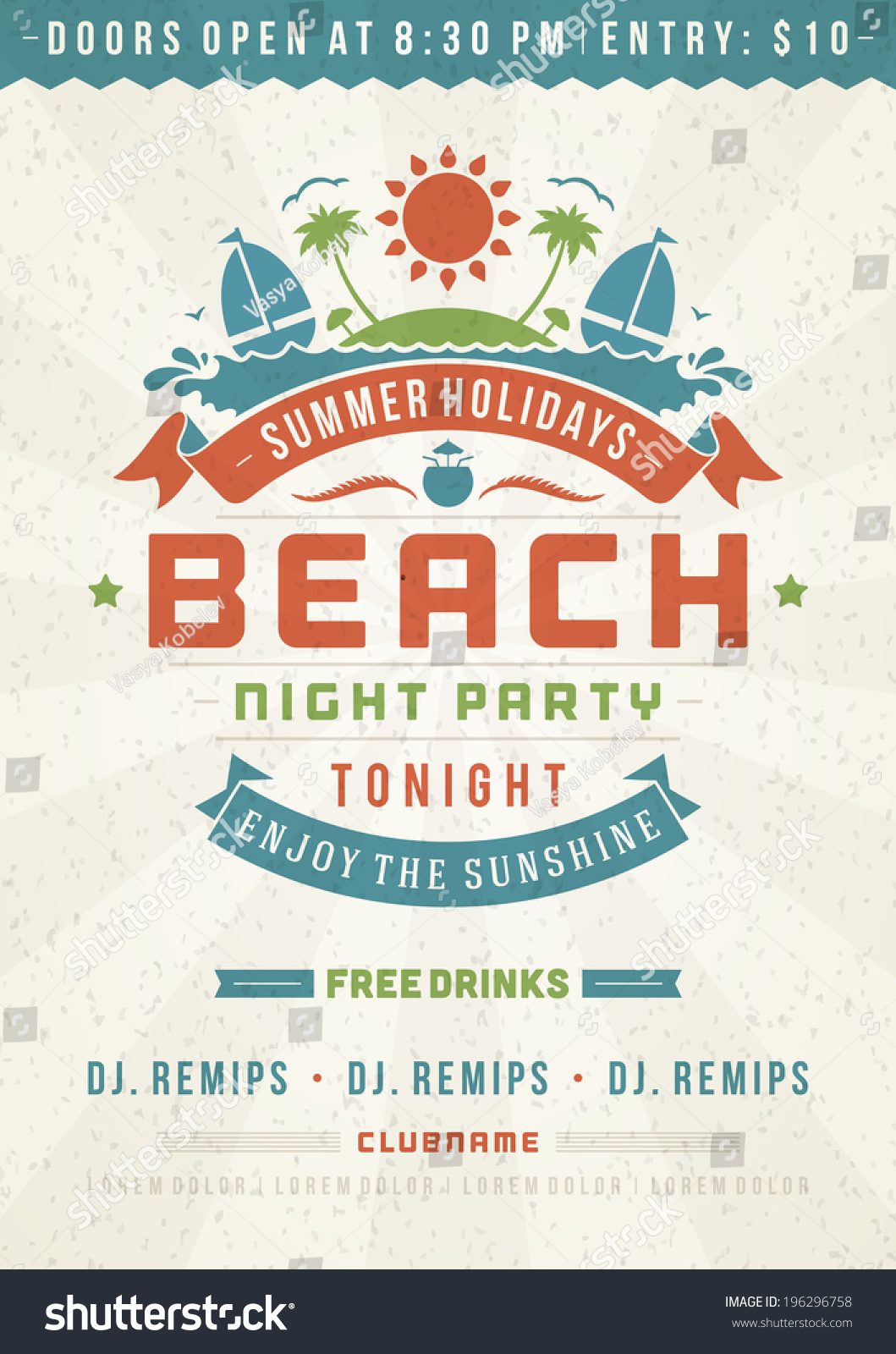 retro summer party design poster flyer stock vector  retro summer party design poster or flyer night club event typography vector template illustration