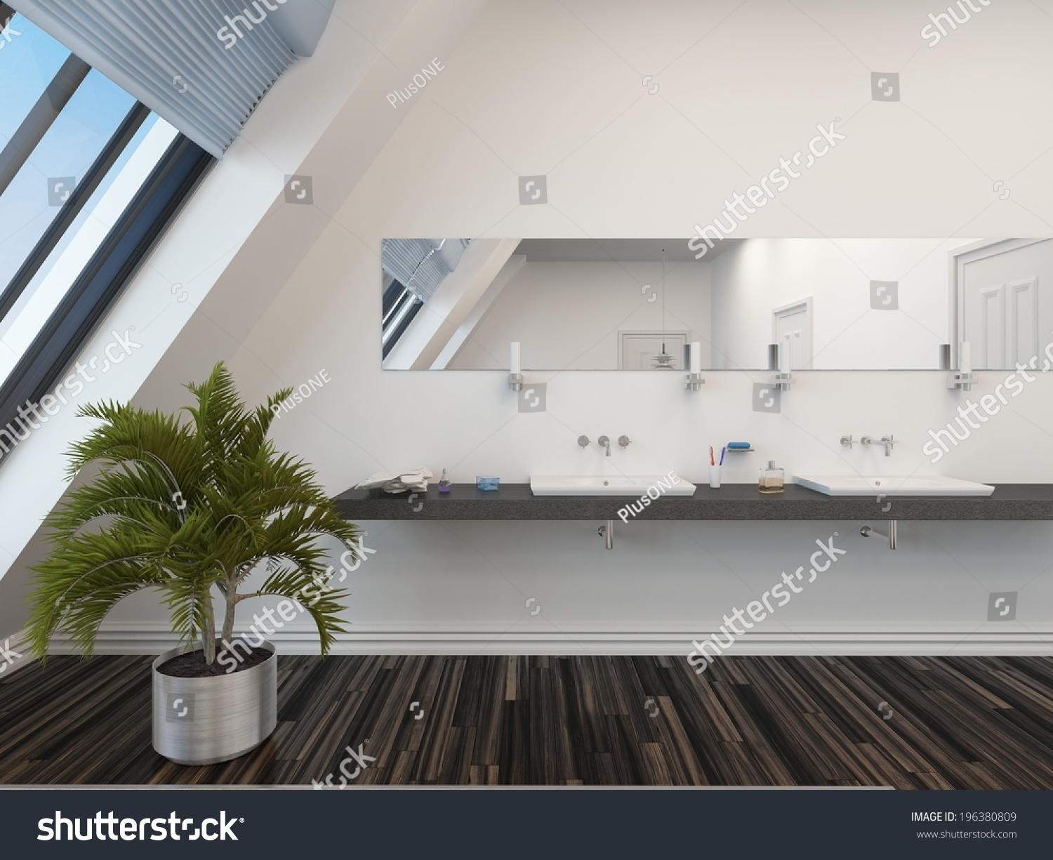 Modern bathroom with a double vanity unit below a long for Long white wall mirror