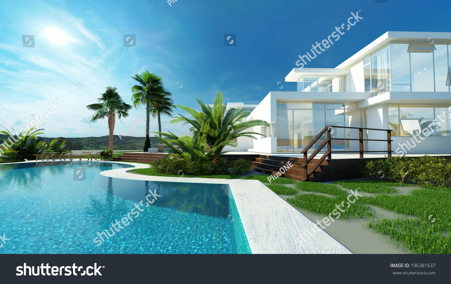 Luxury modern white house angular walls stock illustration for Luxury home windows