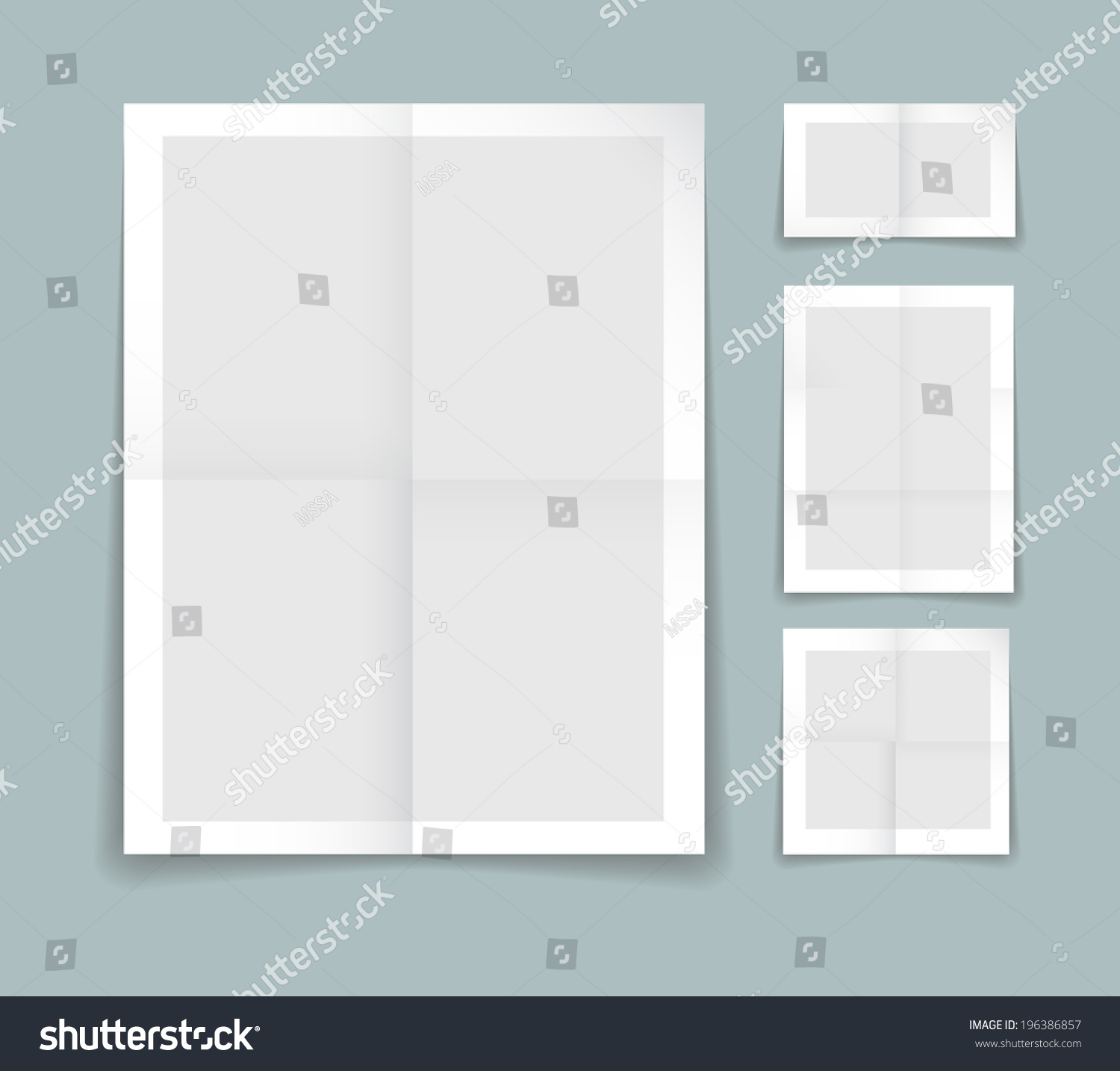 Folded Paper Vector Template Four Different Vector 196386857 – Border Paper Template
