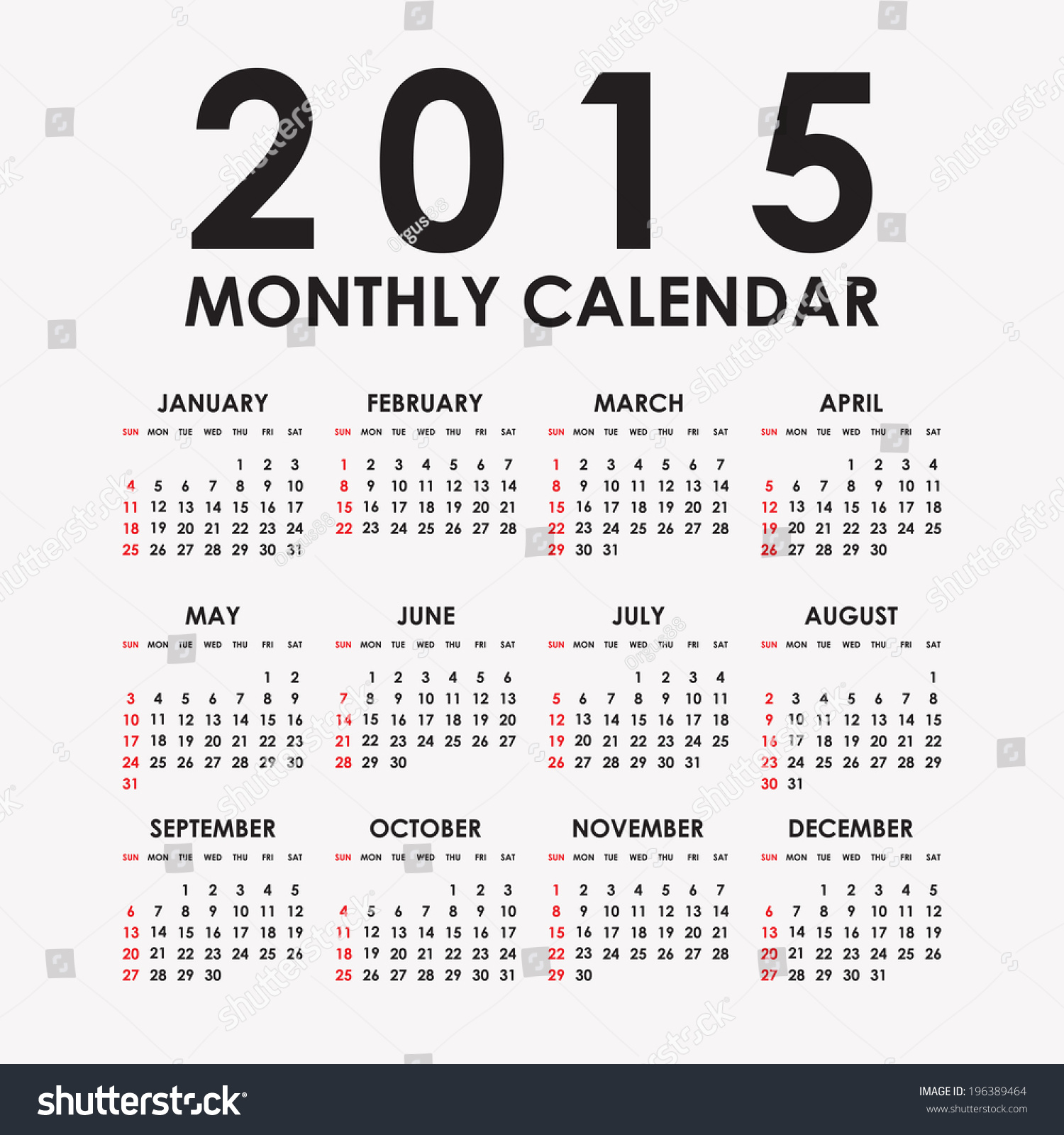 simple 2015 year vector calendar 2015 calendar design 2015 calendar vertical week starts