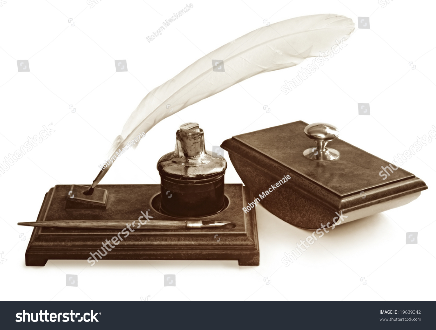 Vintage Writing Set Including Feather Quill Stock Photo