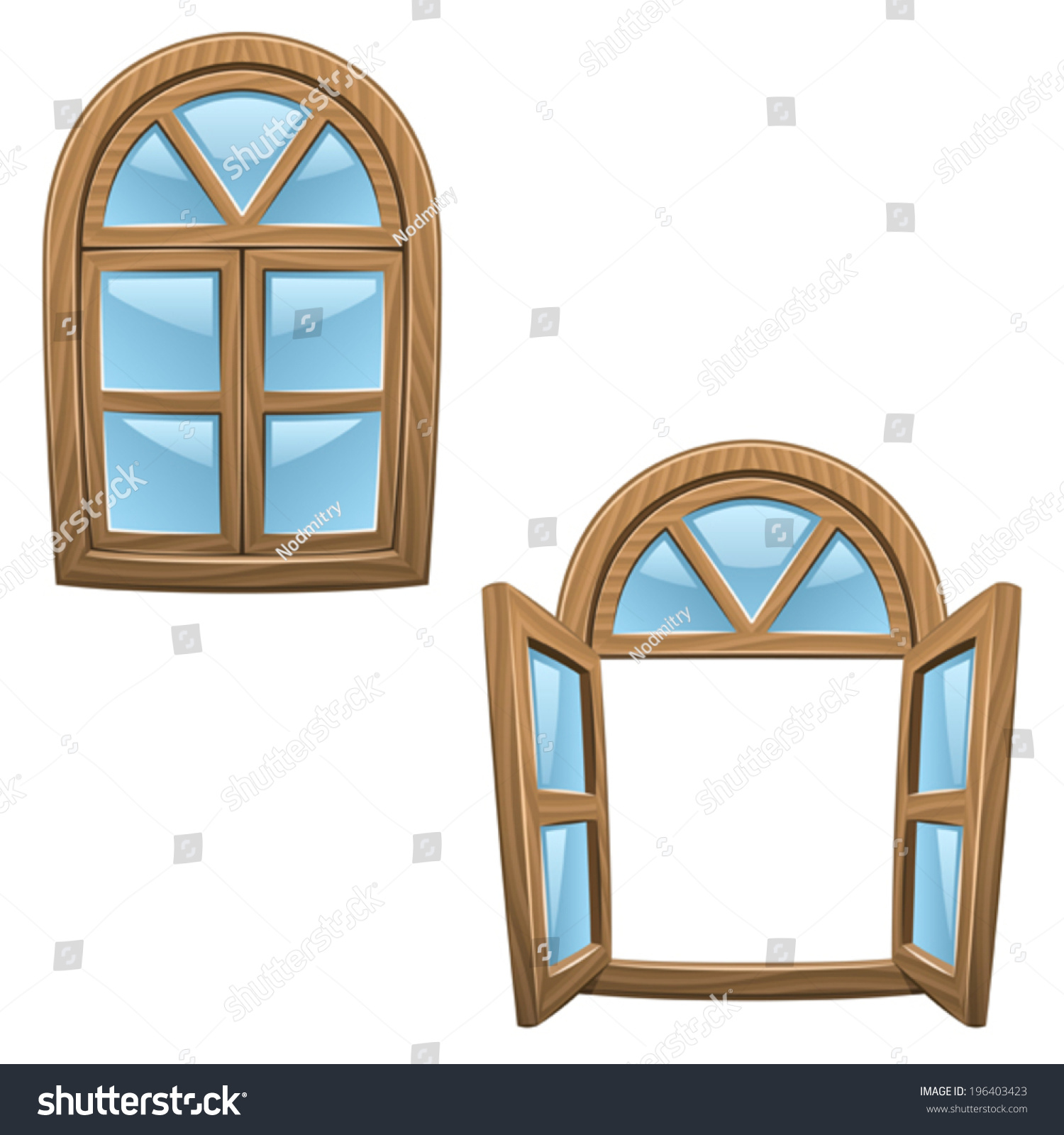 Cartoon Wooden Windows Closed Open Vector Stock Vector