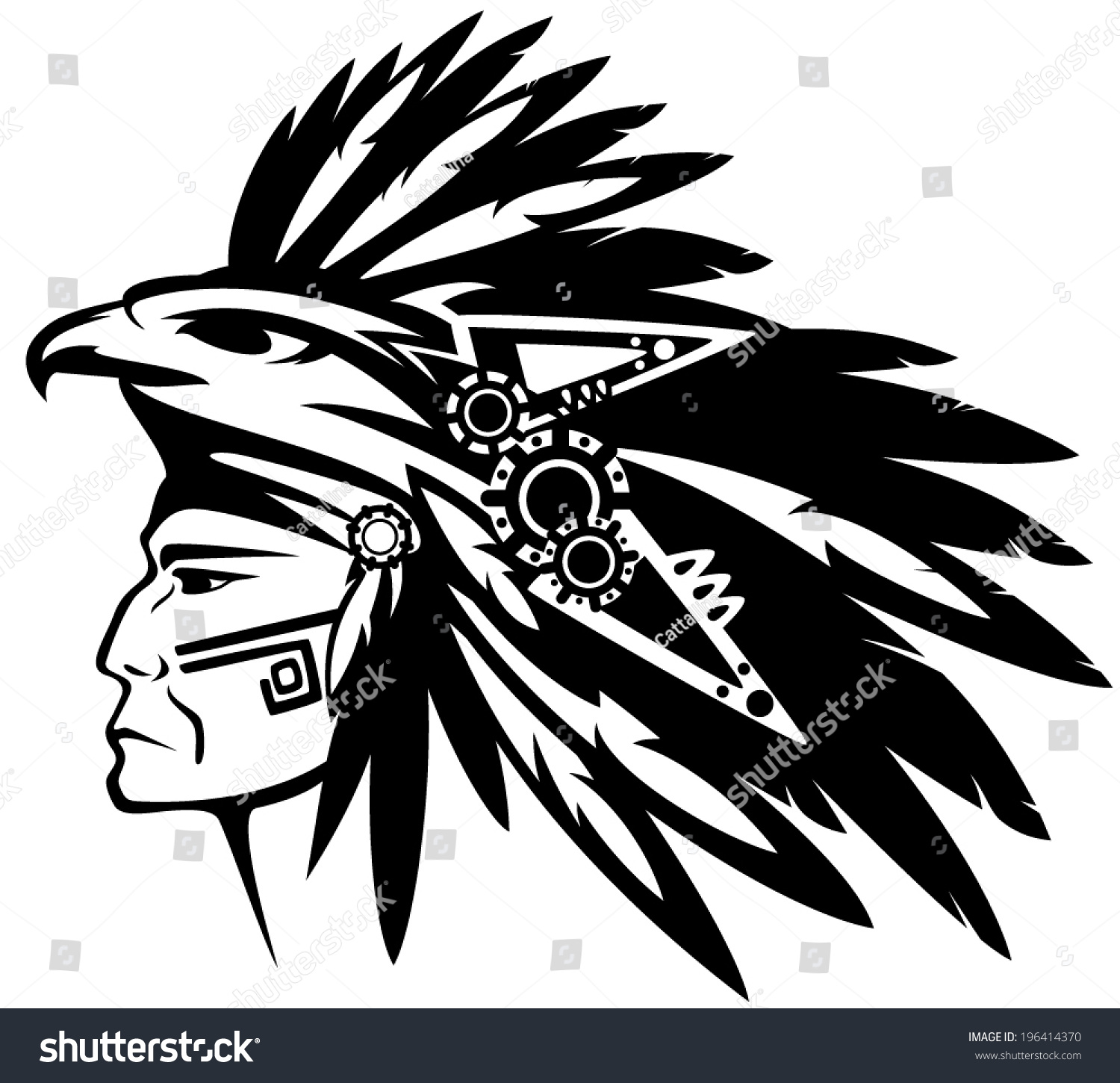ec2dfc743 Aztec tribe warrior wearing feather headdress with eagle profile head -  black and white vector outline