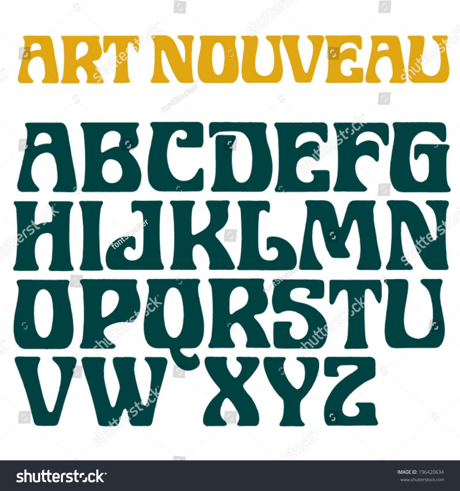 Art Nouveau Font Decorative Vector Type Stock Vector