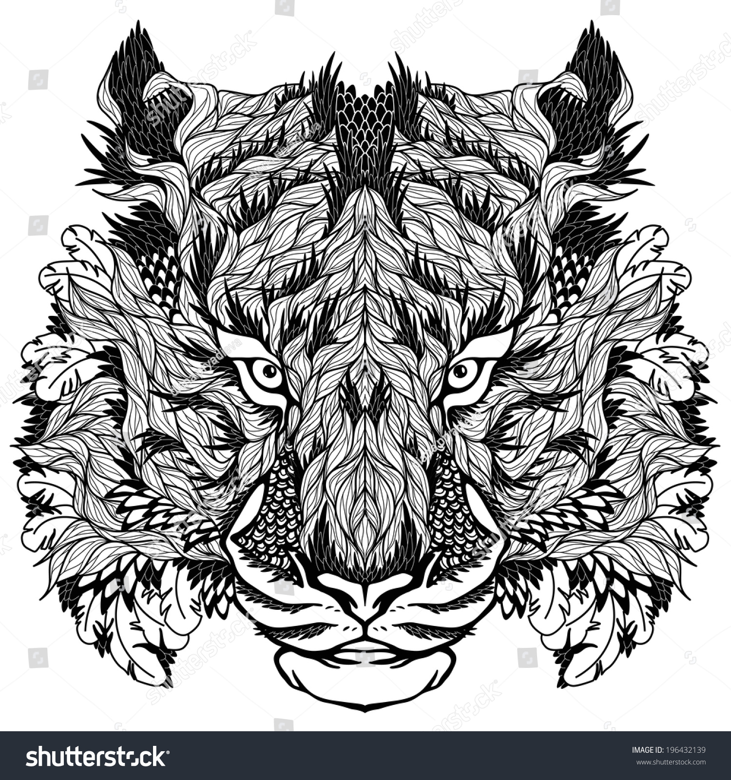 Psychedelic tiger tattoo - photo#2