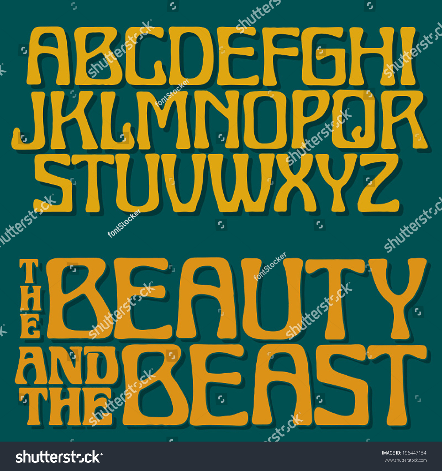 art nouveau font 1 decorative vector type upper case rough printed letters