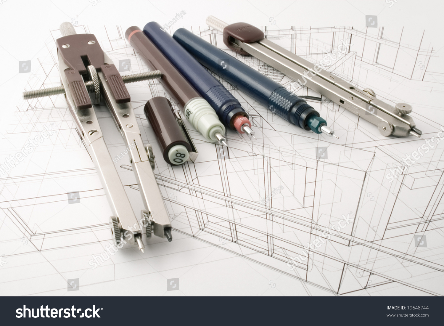 Architecture Draw Tools Stock Photo Royalty Free 19648744
