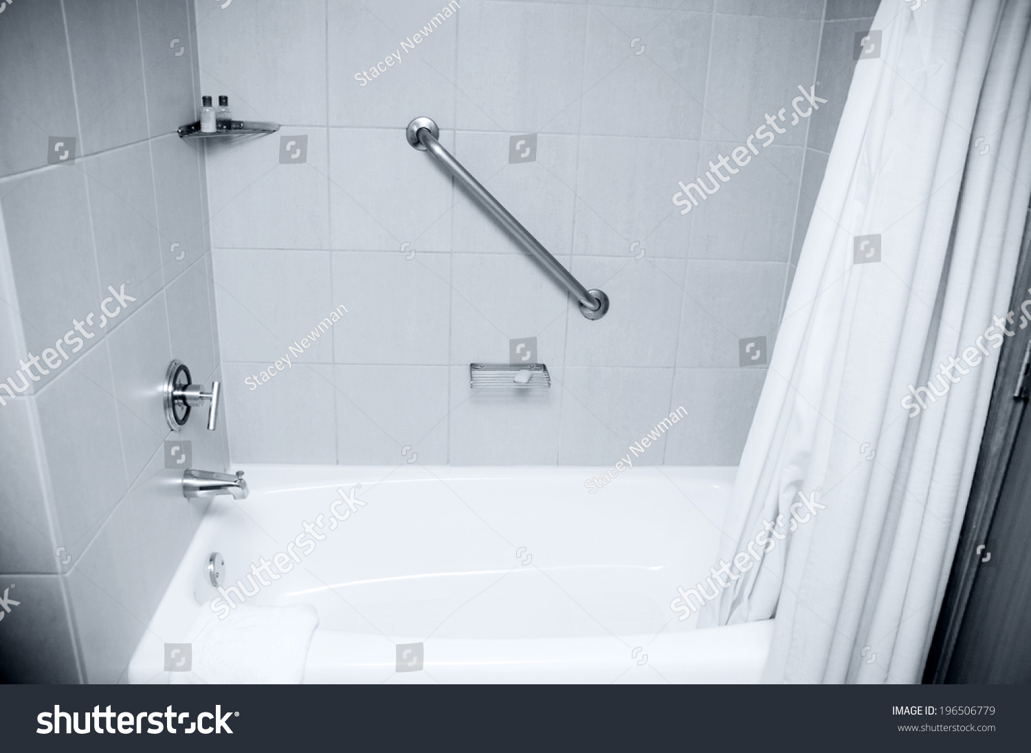 Bathtub Shower Handicapped Hand Rail Stock Photo 196506779 ...