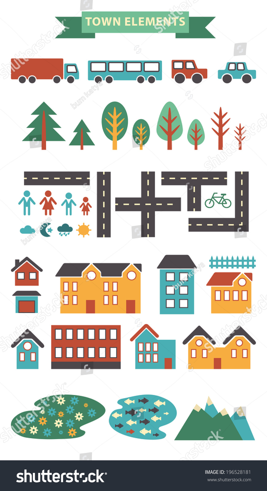 Town Infographic Elements Vector City Elements Stock