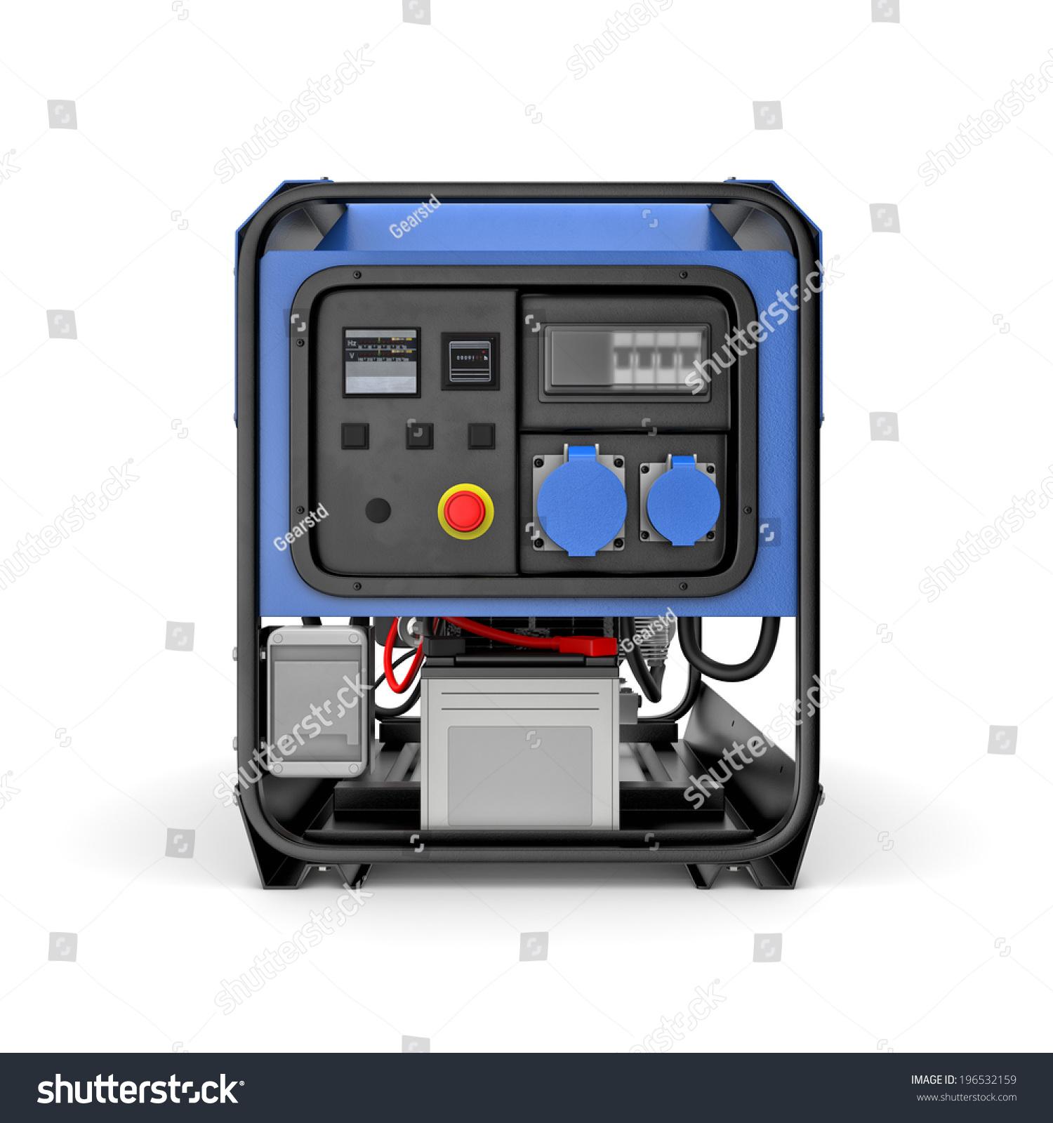 Threedimensional Illustration Portable Gasoline Generator Isolated