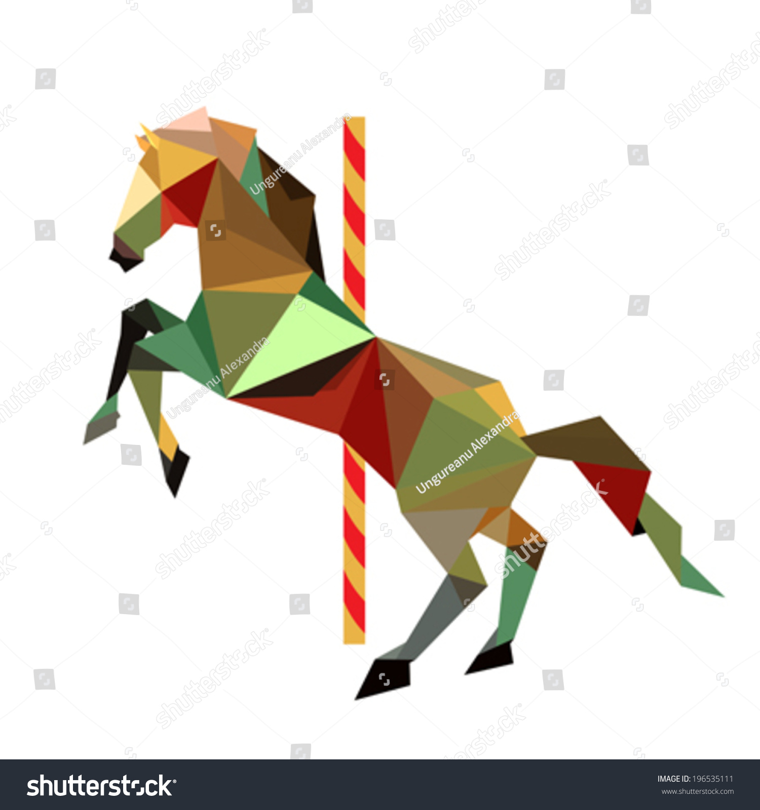 Illustration Abstract Origami Carousel Horse Stock Vector Royalty