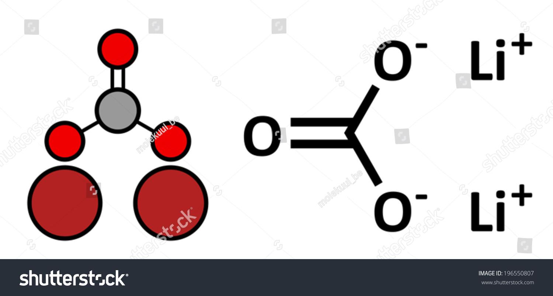 Lithium Carbonate Li2co3 Bipolar Disorder Drug Stock Vector