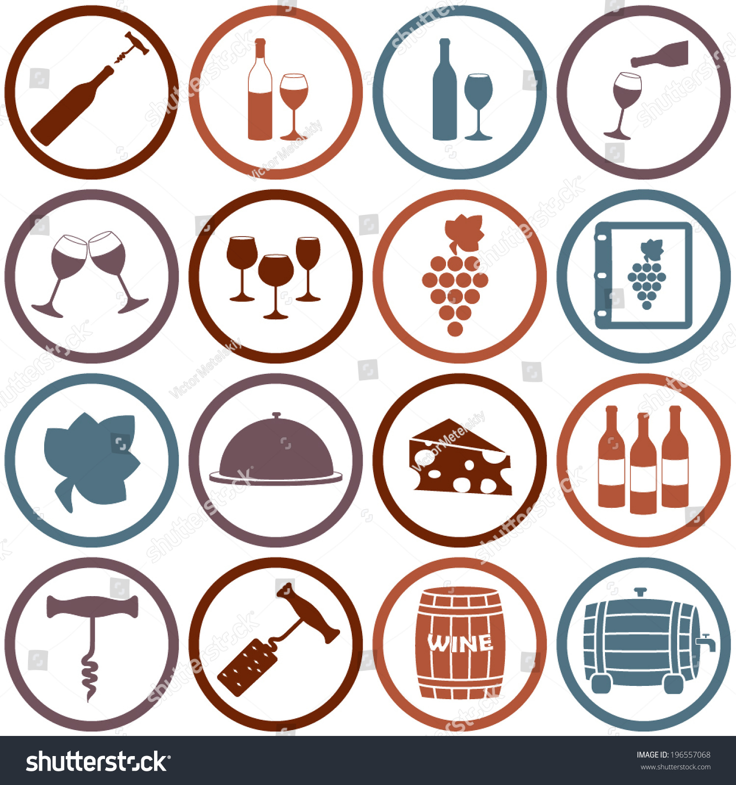 Wine icons set design restaurant food stock vector