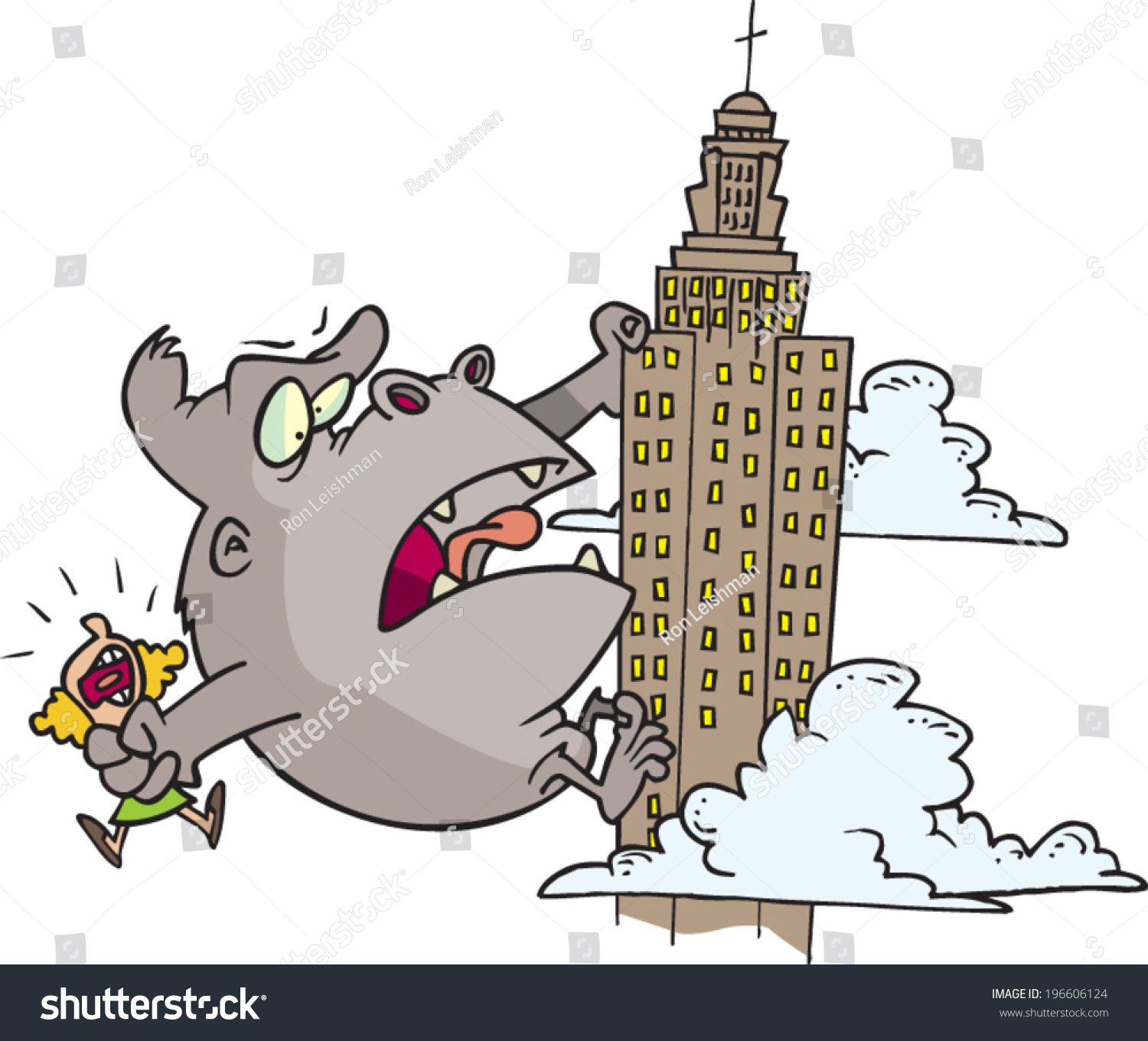 State Vector Shutterstock Stock Gorilla Giant Empire - Climbing Cartoon 196606124 royalty Free