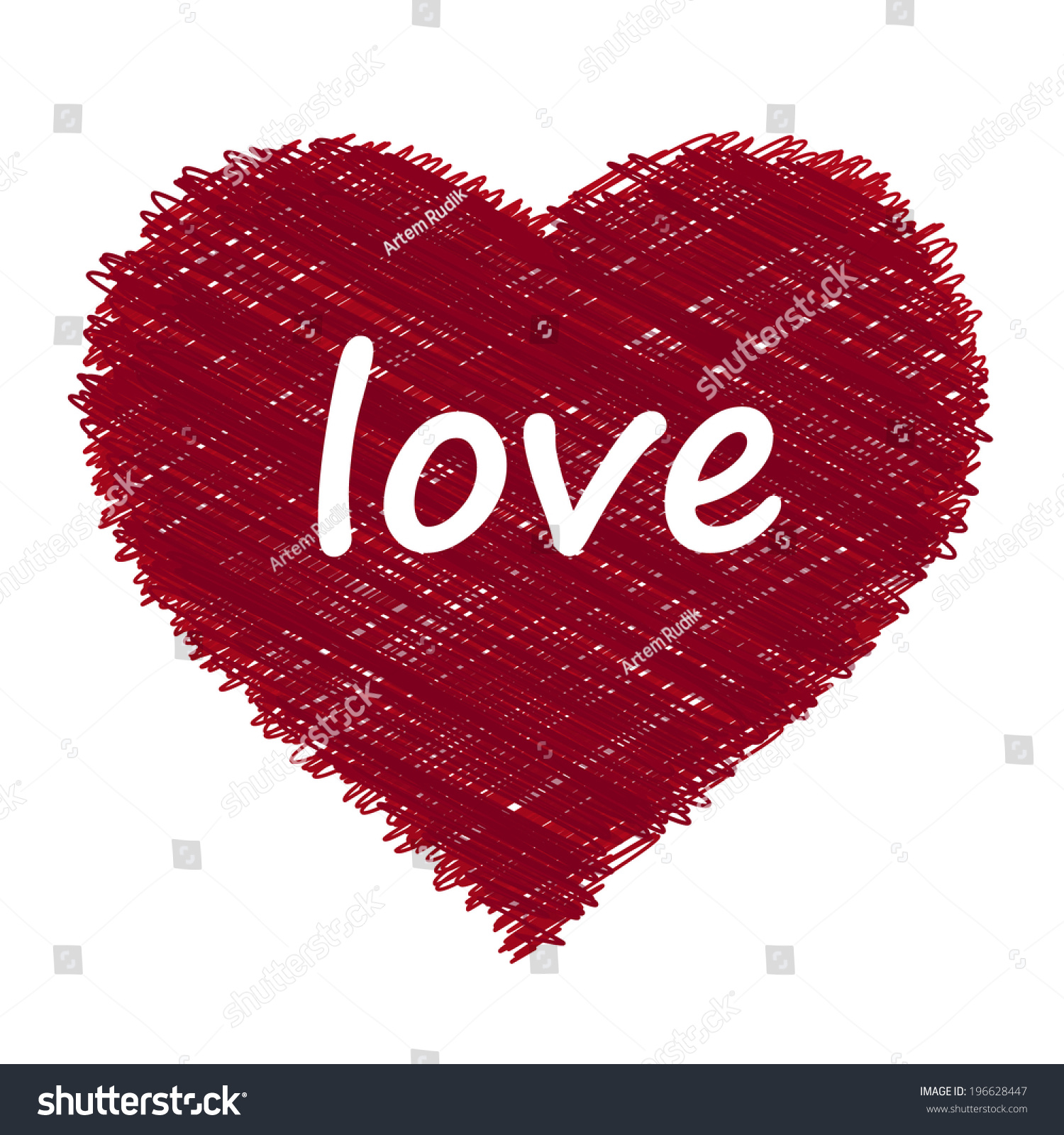 Heart pencil drawing sketching circle scribble effect vector elements for you design