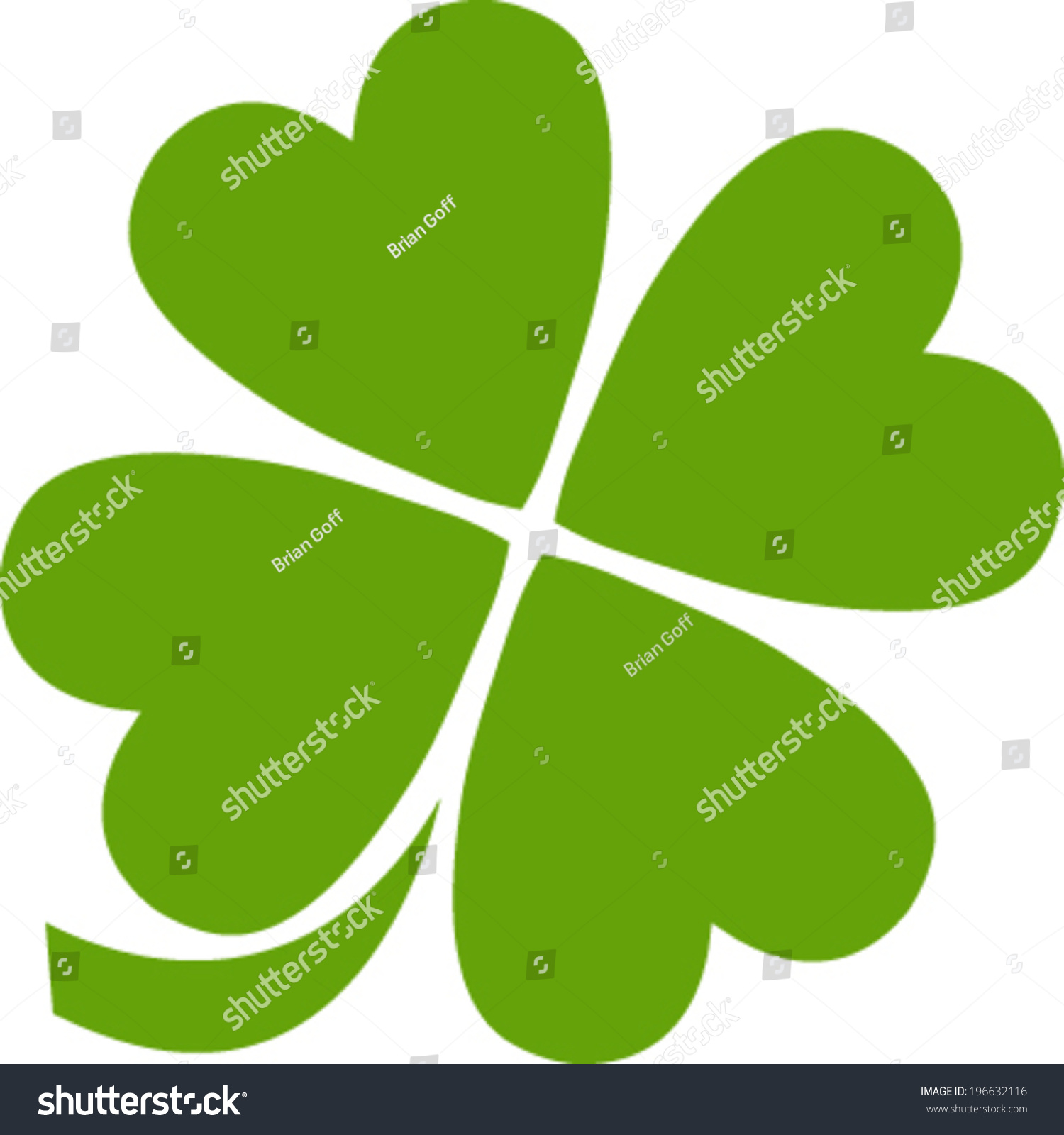 four leaf clover vector icon stock vector 196632116 shutterstock rh shutterstock com 4 leaf clover vector free download four-leaf clover vector free download