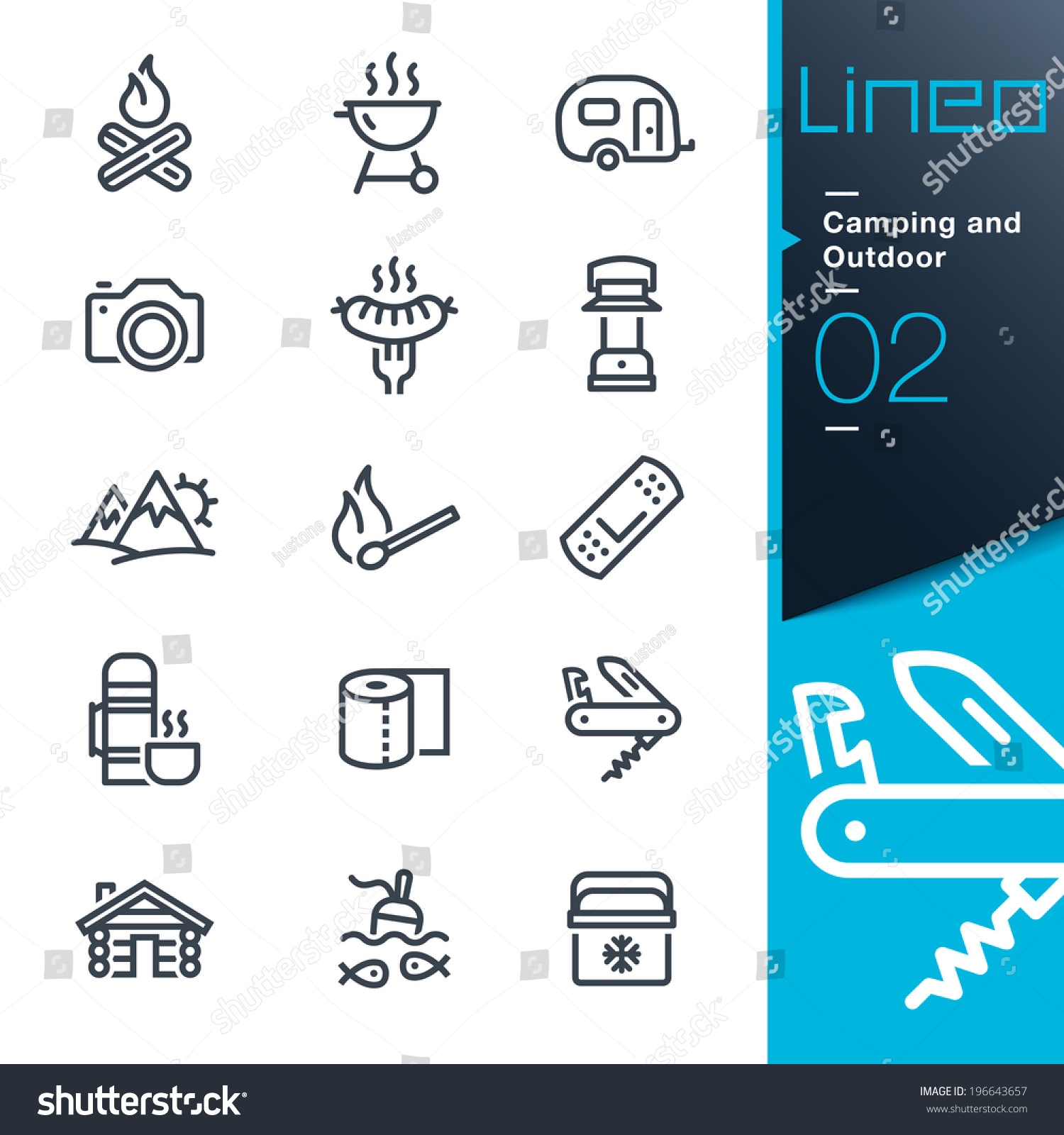 Lineo Camping and Outdoor outline icons
