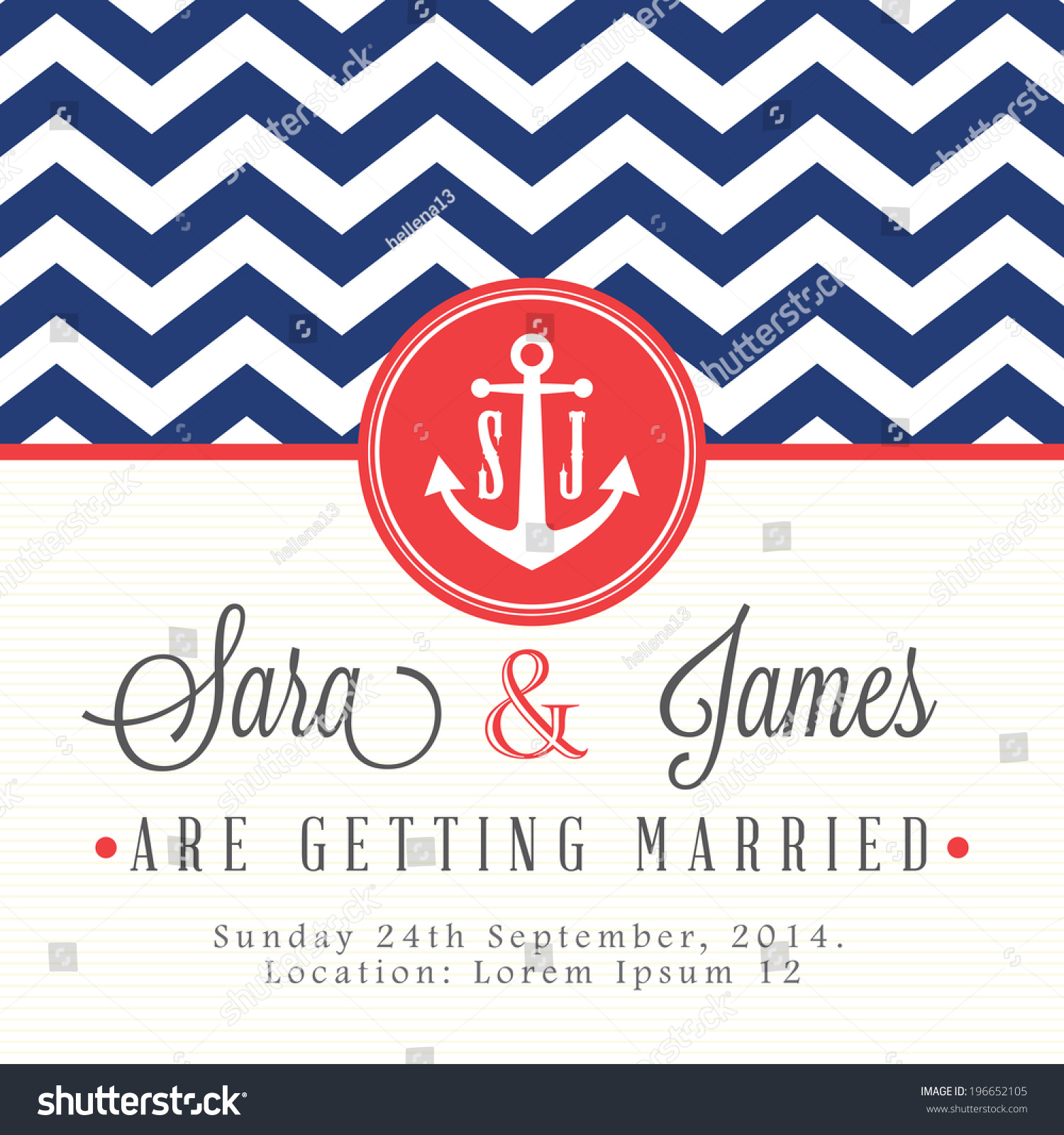 Nautical Wedding Invitation Card Stock Vector (Royalty Free ...