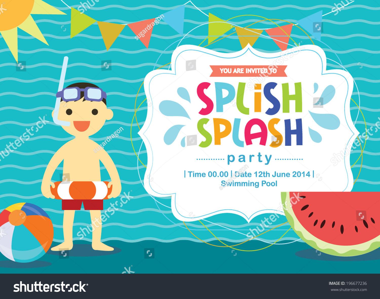 Birthday Card Summer Fun Splash Invitation Stock Vector ...