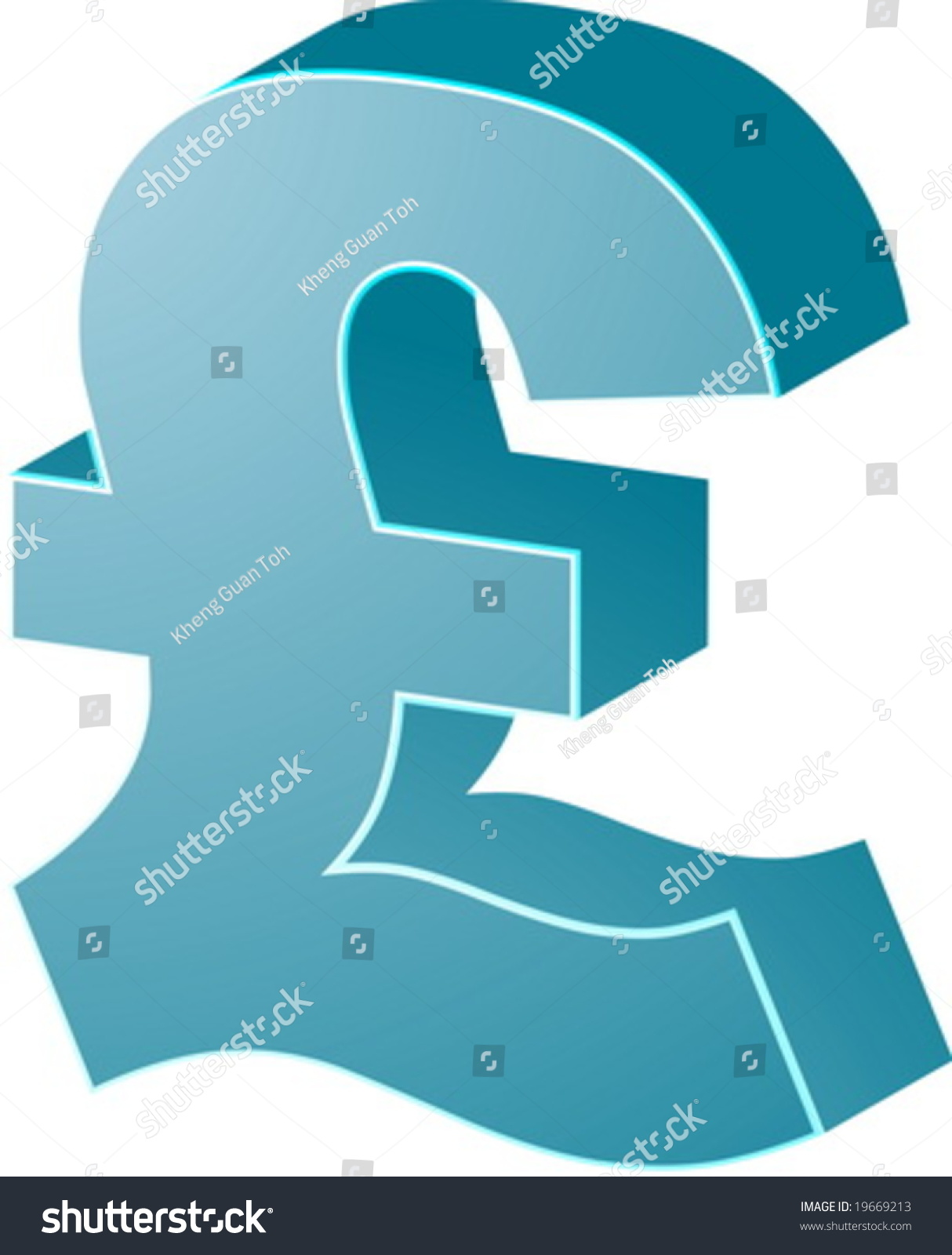 British Uk Pounds Currency Symbol Isometric Stock Vector Royalty