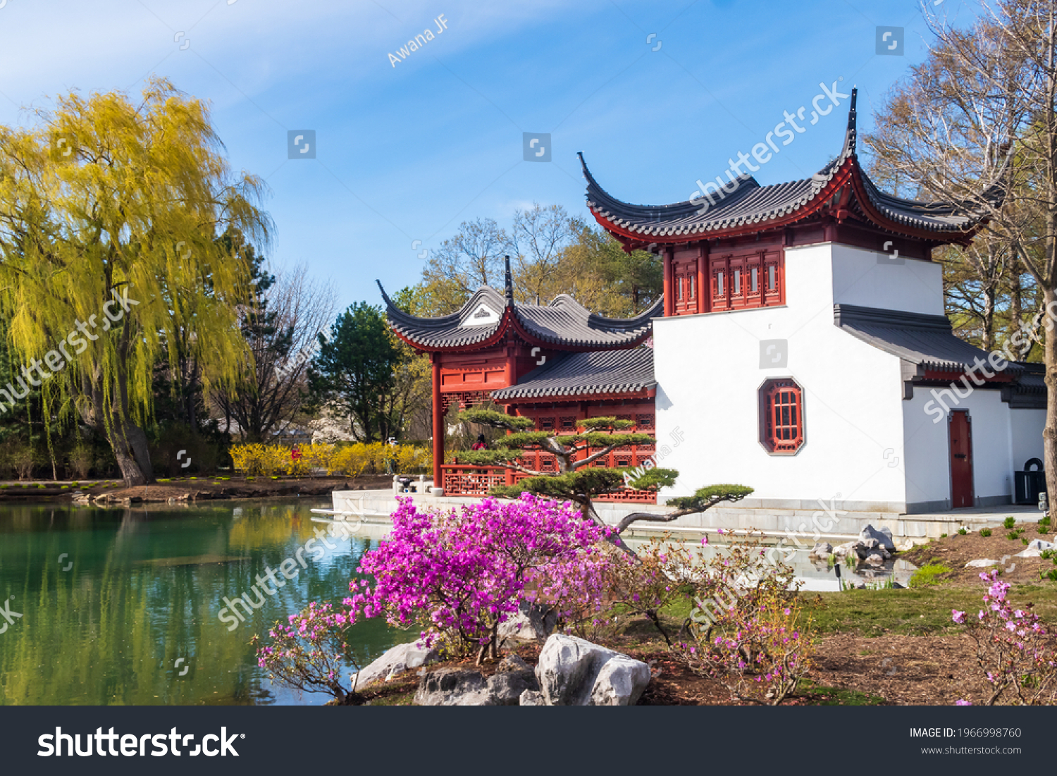 Montreal, Canada - april 2021 : spring view of a traditional chinese pavilion within the botanical garden