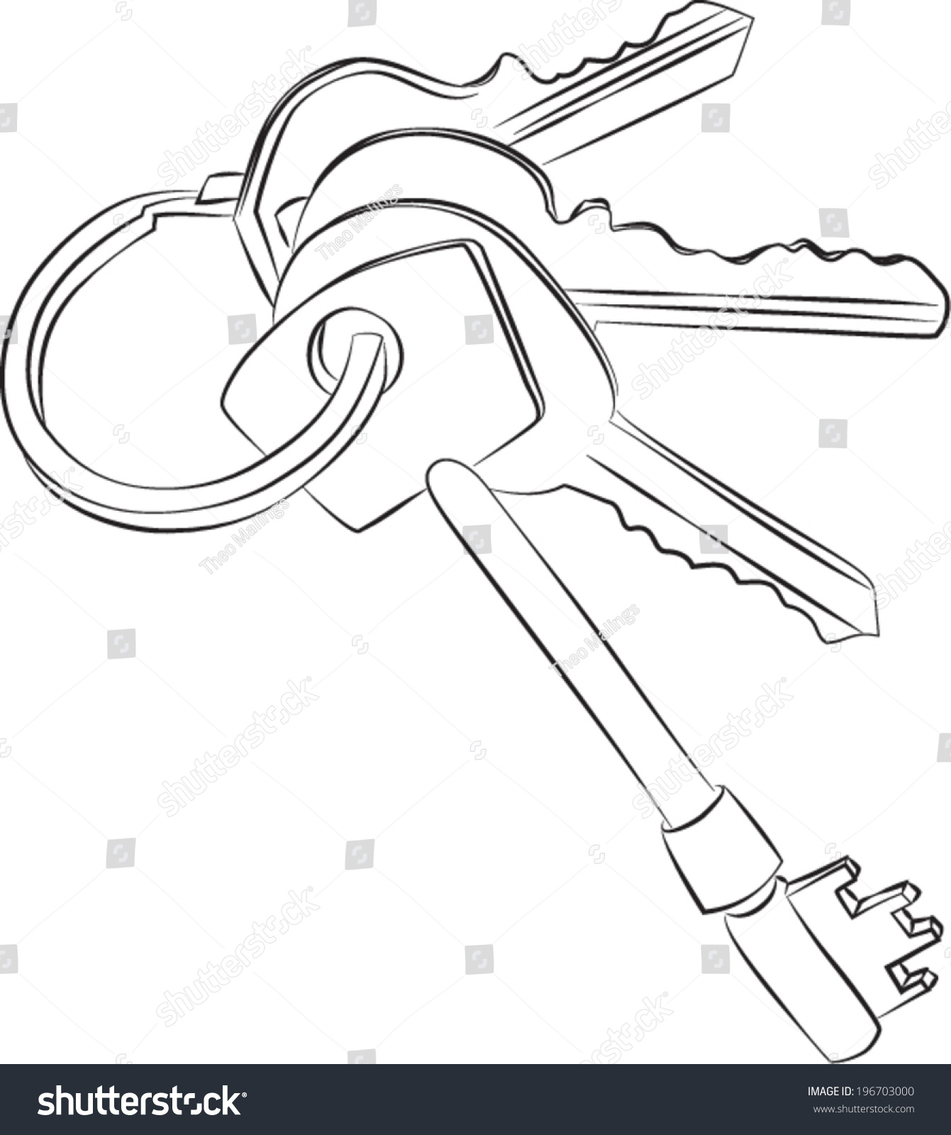 Line Drawing Key : Sketched line drawing set four keys stock vector