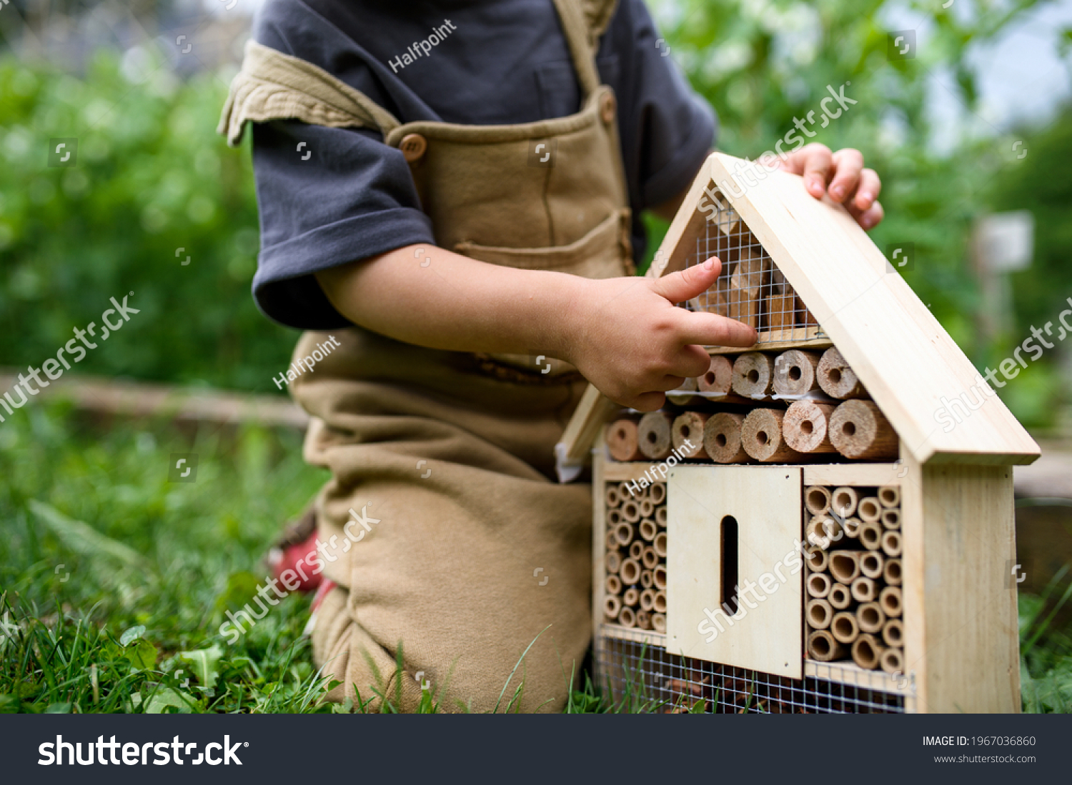 Obscured small child playing with bug and insect hotel in garden, sustainable lifestyle. #1967036860