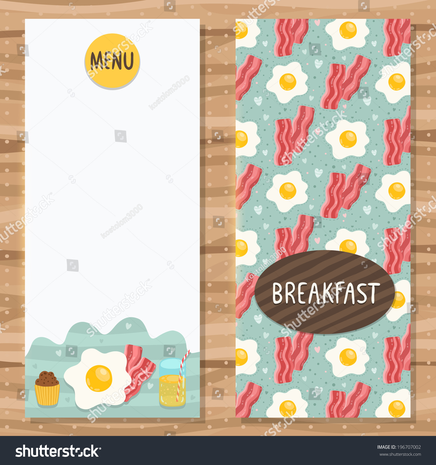 brochure template breakfast menu egg bacon stock vector  brochure template for breakfast menu egg bacon cupcake and juice cute flyer