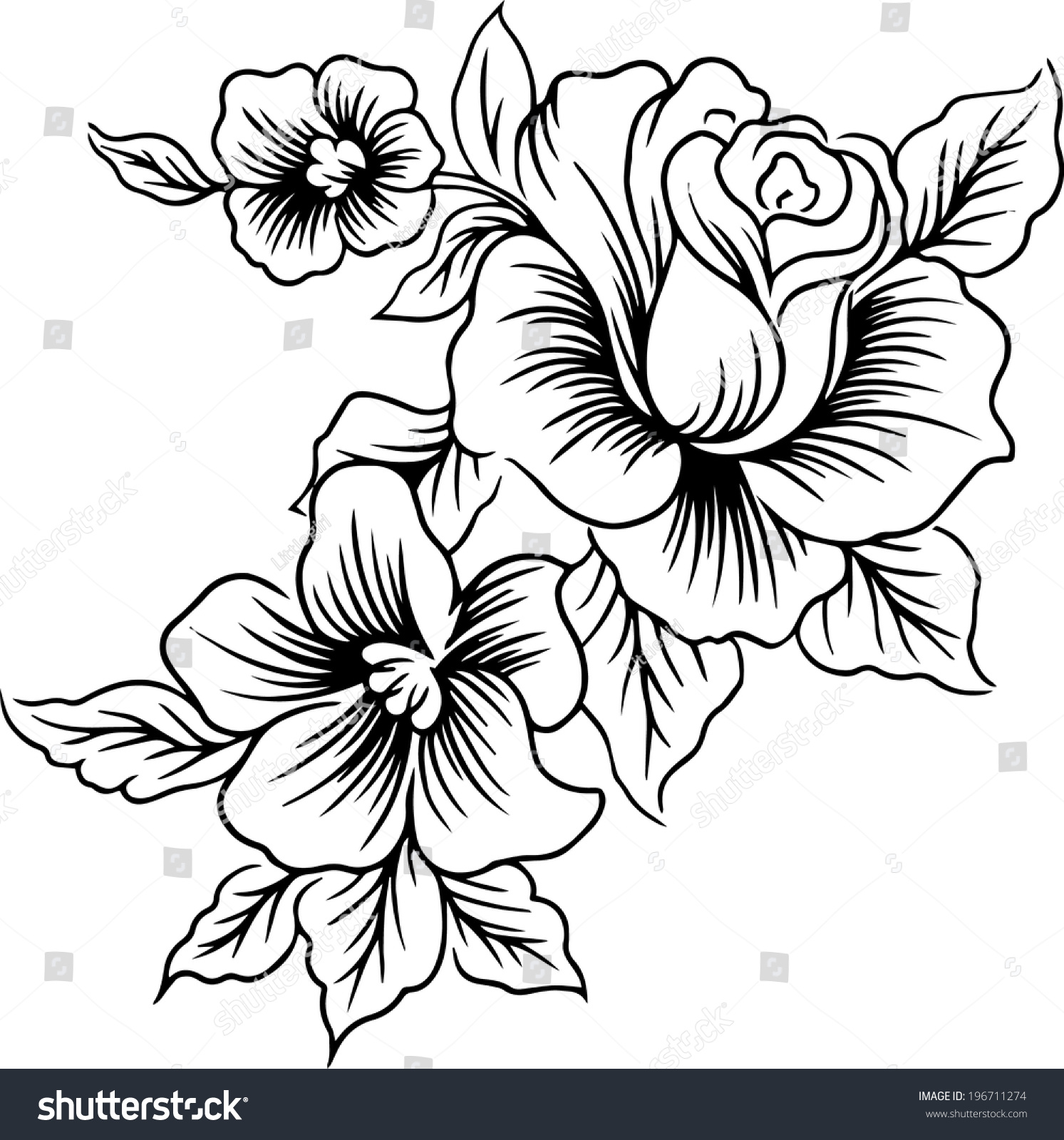 Beautiful Flower Line Drawing : Hand drawings lines flowers beautiful vector stock