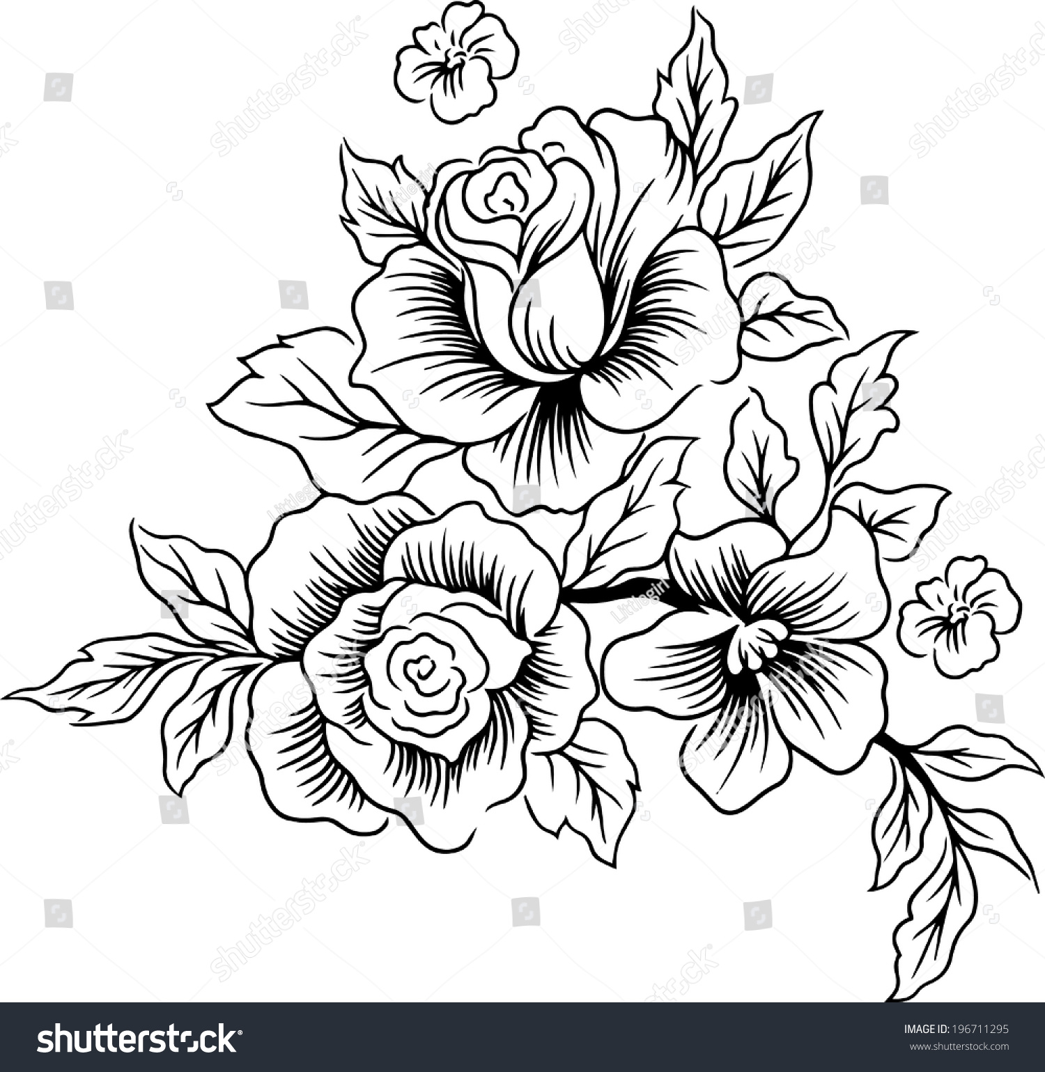 Drawings Lines Beautiful Flowers Stock Vector Royalty Free