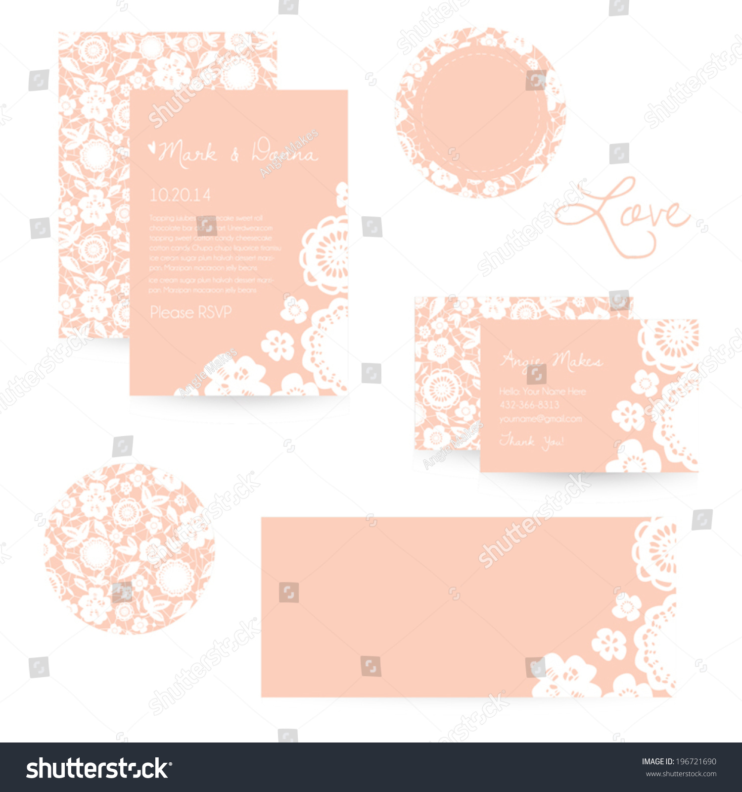 Wedding stationery set lace wedding invitation stock vector wedding stationery set lace wedding invitation cute lace business card vector sticker template magicingreecefo Choice Image