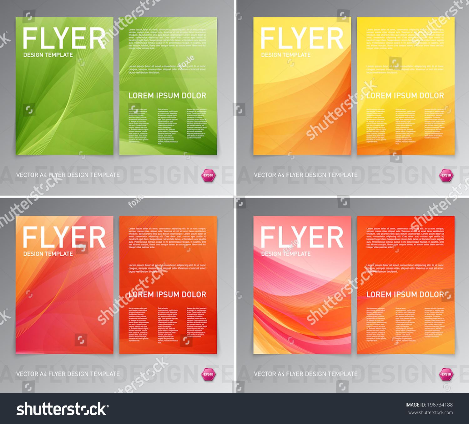 Abstract Vector Modern Flyer / Brochure Design Templates Collection. Smooth  Colorful Backgrounds. #196734188  Flyer Samples Templates