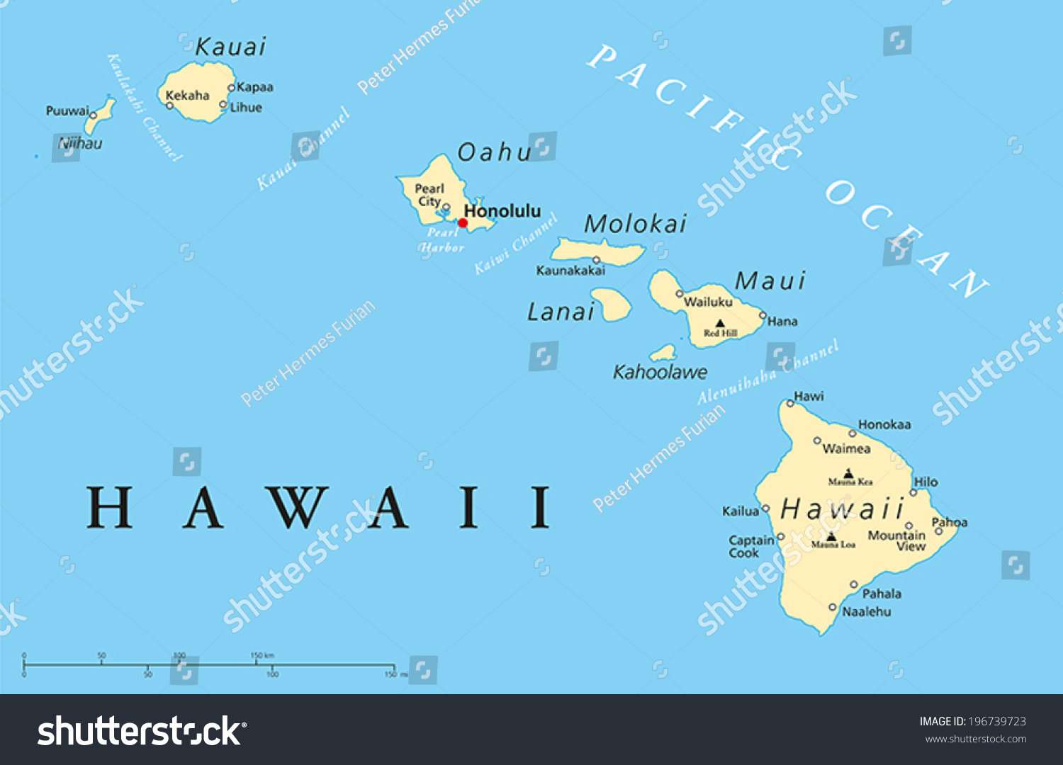 Hawaii Islands Political Map Capital Honolulu Stock Vector - Hawaii cities map